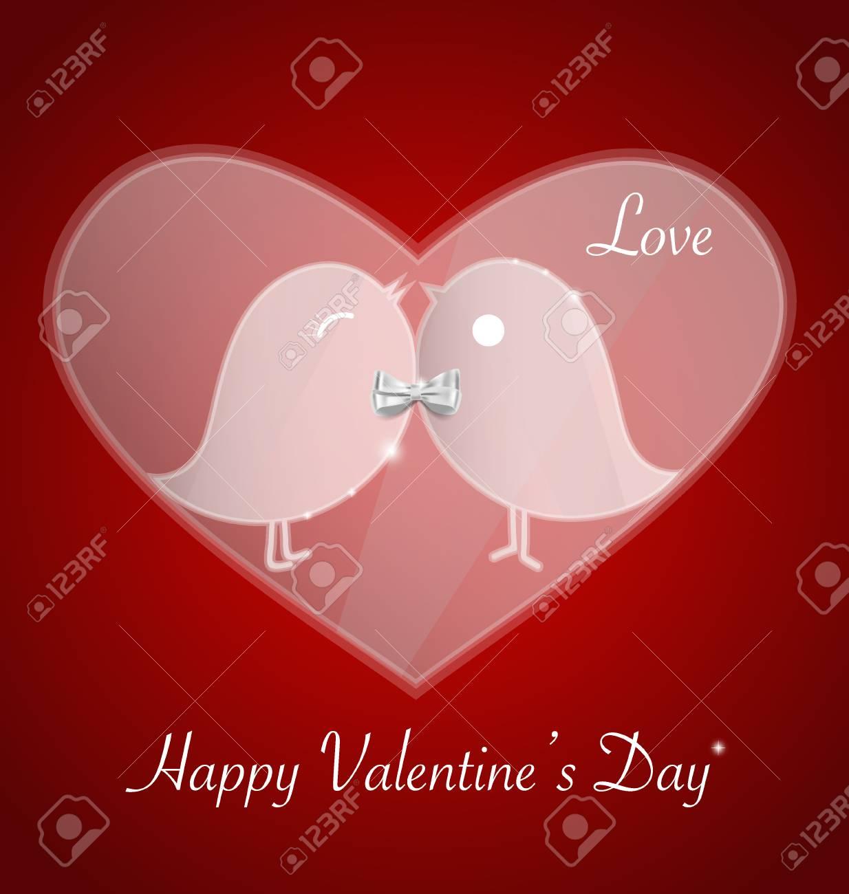 Happy Valentines Day. Bird Love Card, Invitation Card For Wedding ...