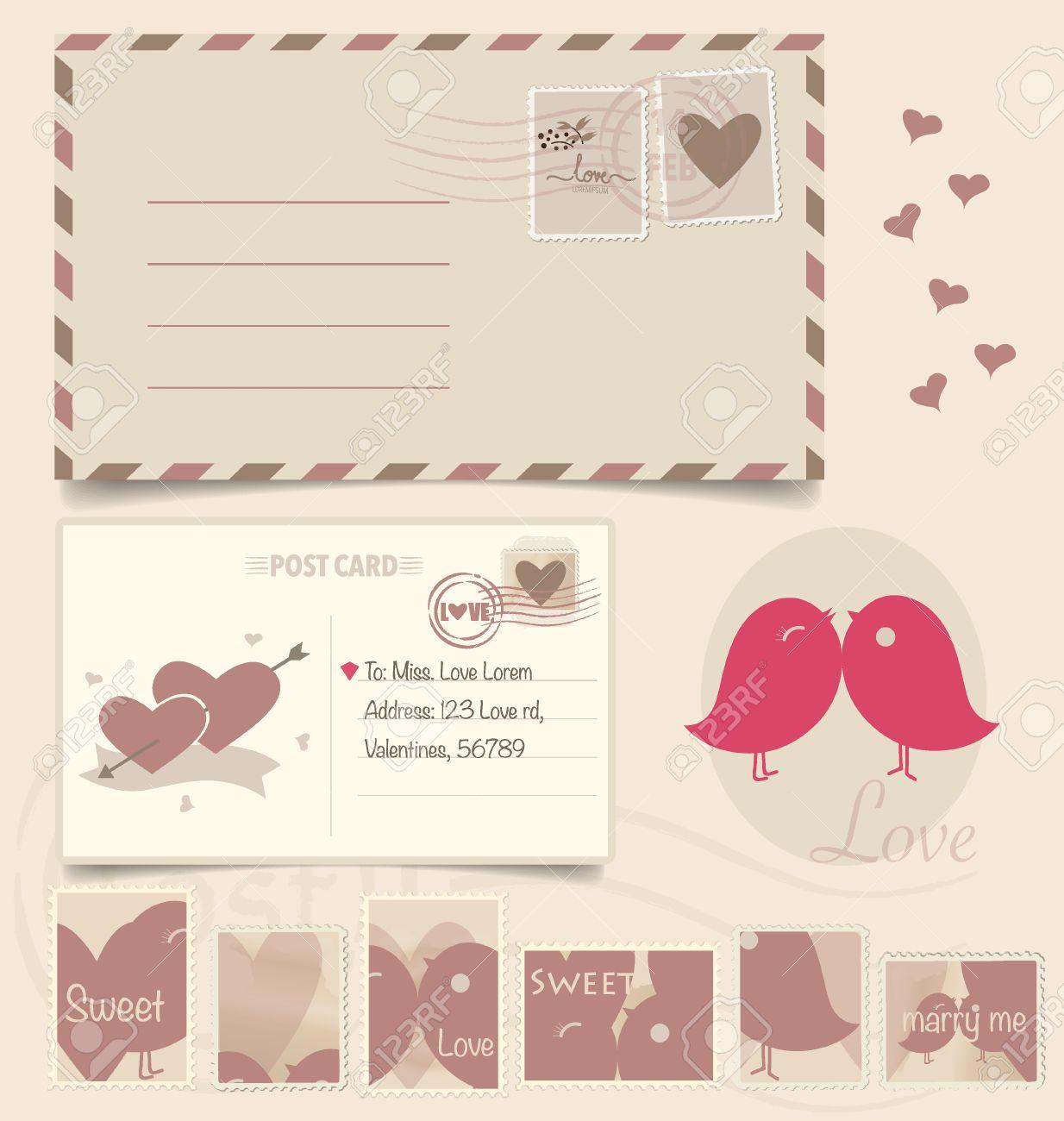 How to scrapbook wedding cards - Vector Vintage Postcard Background And Postage Stamps For Wedding Card Design Invitation Card Design Congratulation Card Design Scrapbook Design