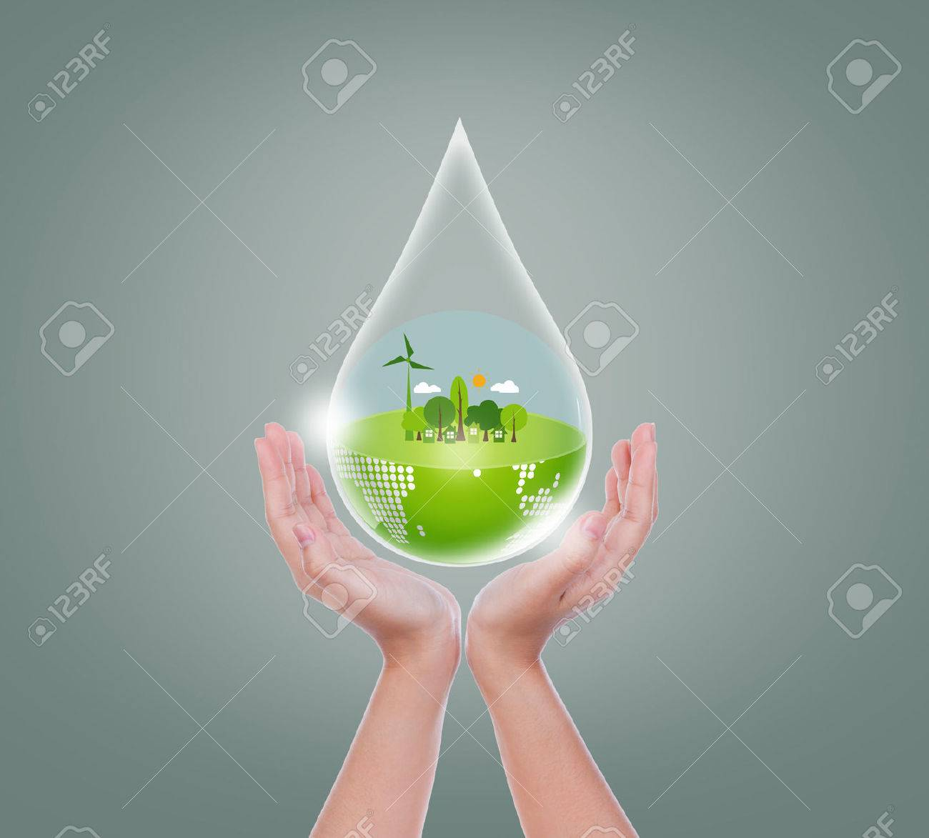 Woman hands hold water drop of eco friendly earth - 37167350