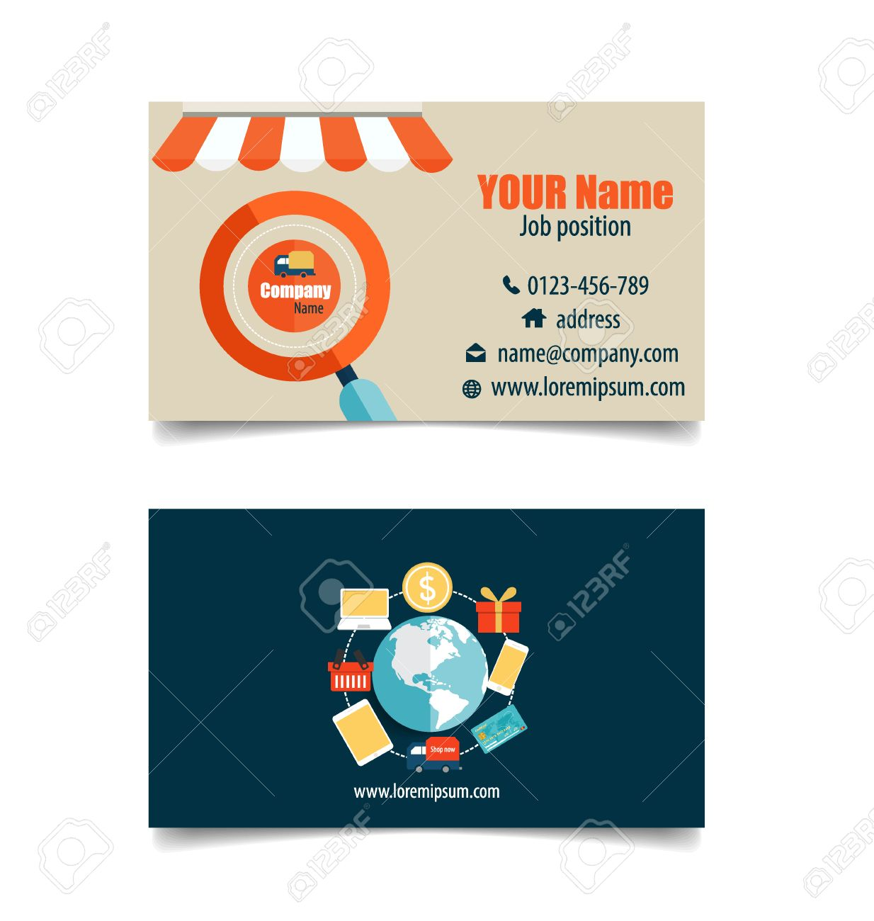 Modern business card template with business concept online shopping modern business card template with business concept online shopping infographics background e commerce fbccfo Gallery