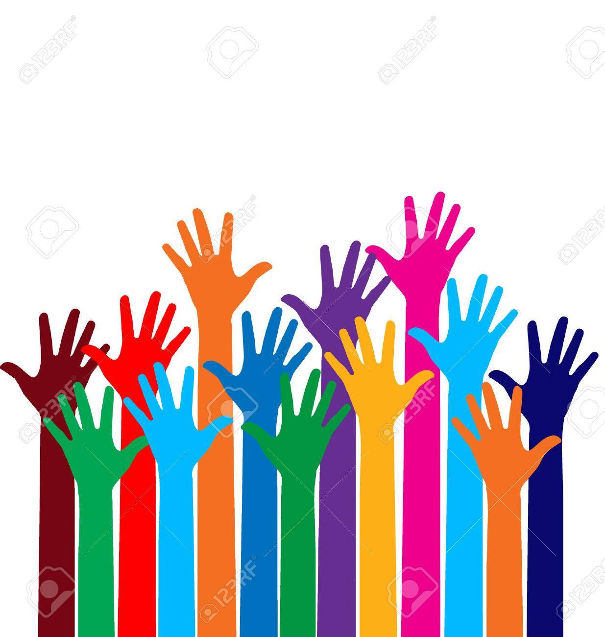 Photo of raised hands. Vector illustration. - 39494732