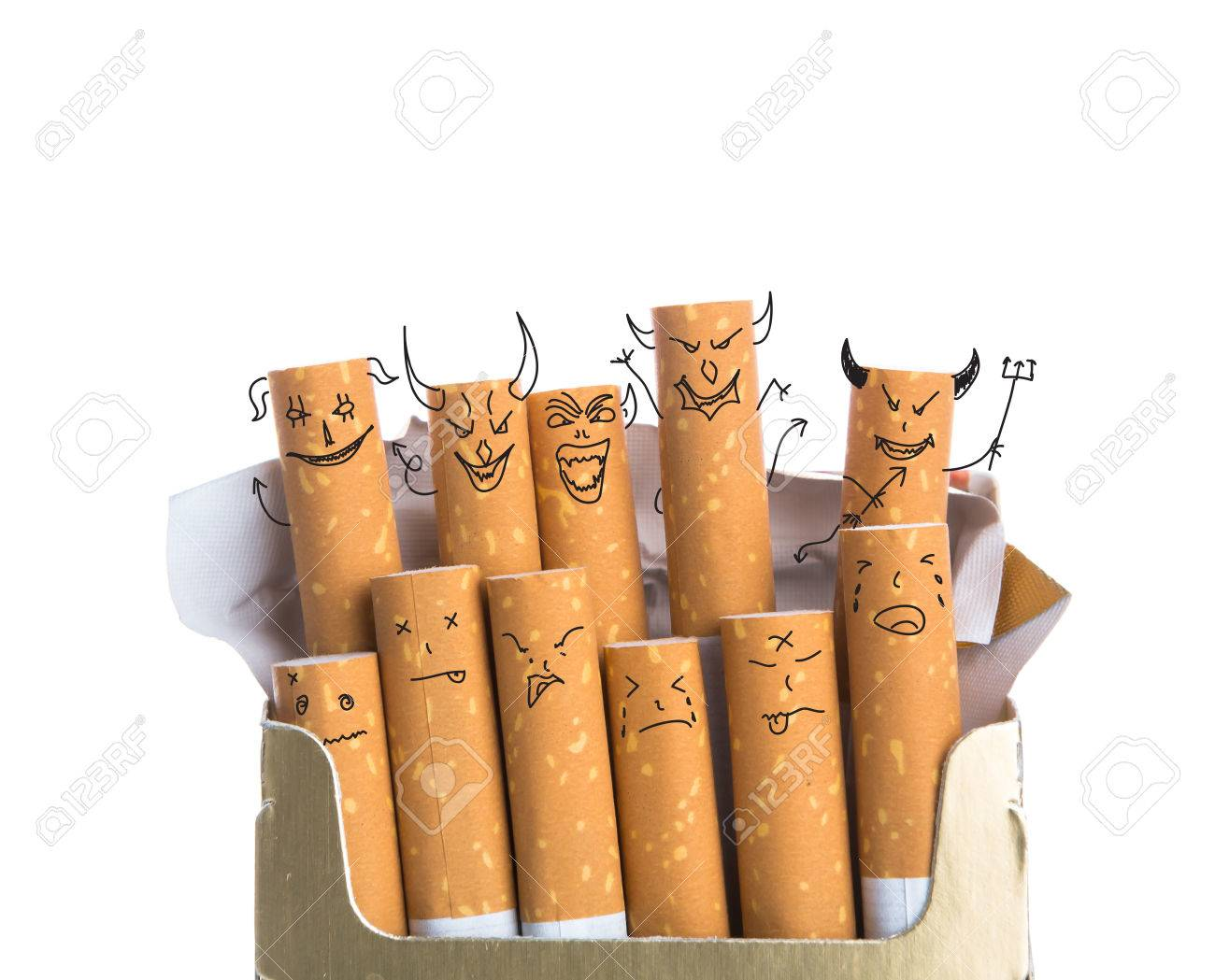 Box of cigarettes with Devil Face isolated on a white background - 40399911