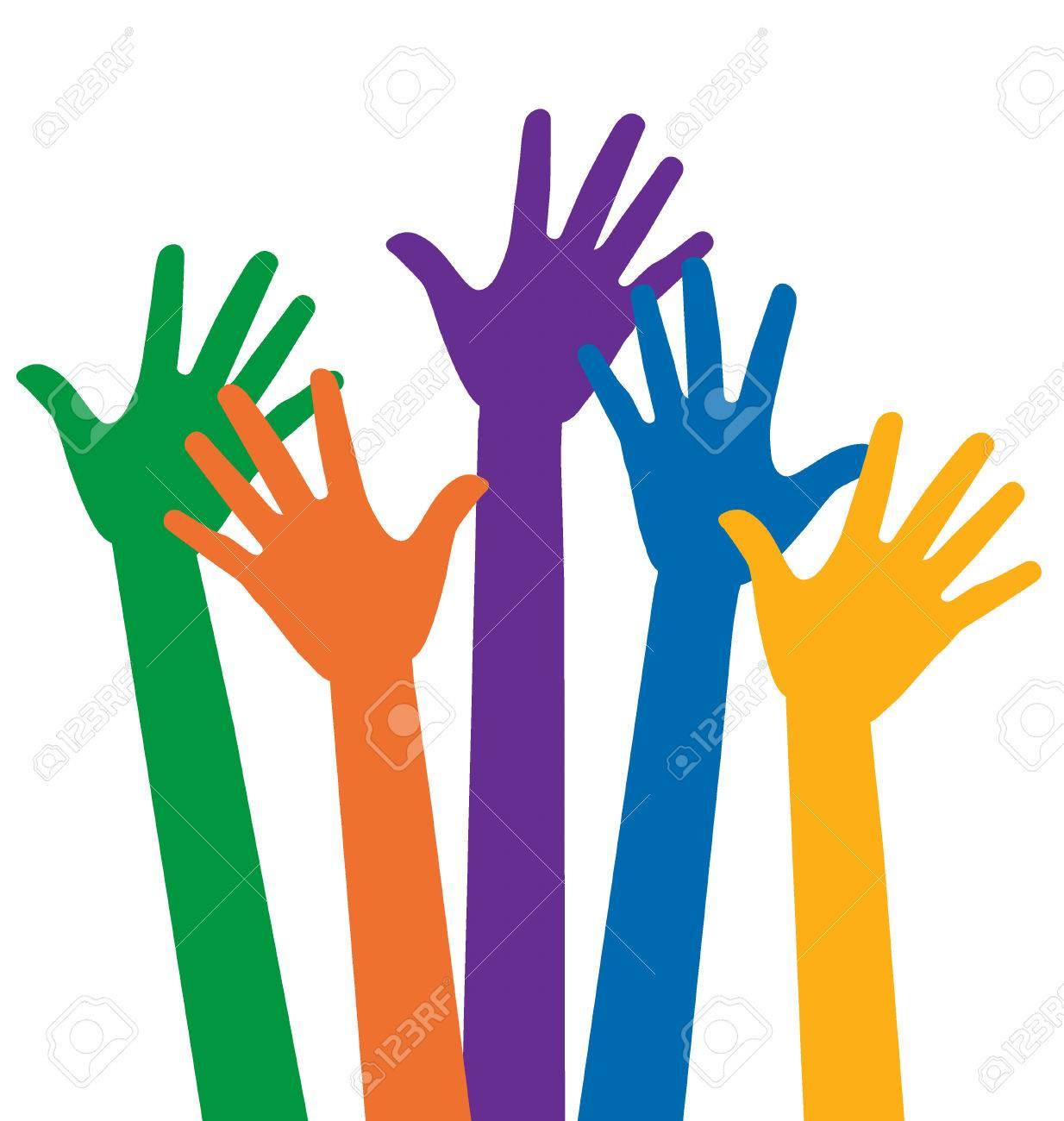 raised hands vector illustration royalty free cliparts vectors rh 123rf com free vector hand logo free hand vector download