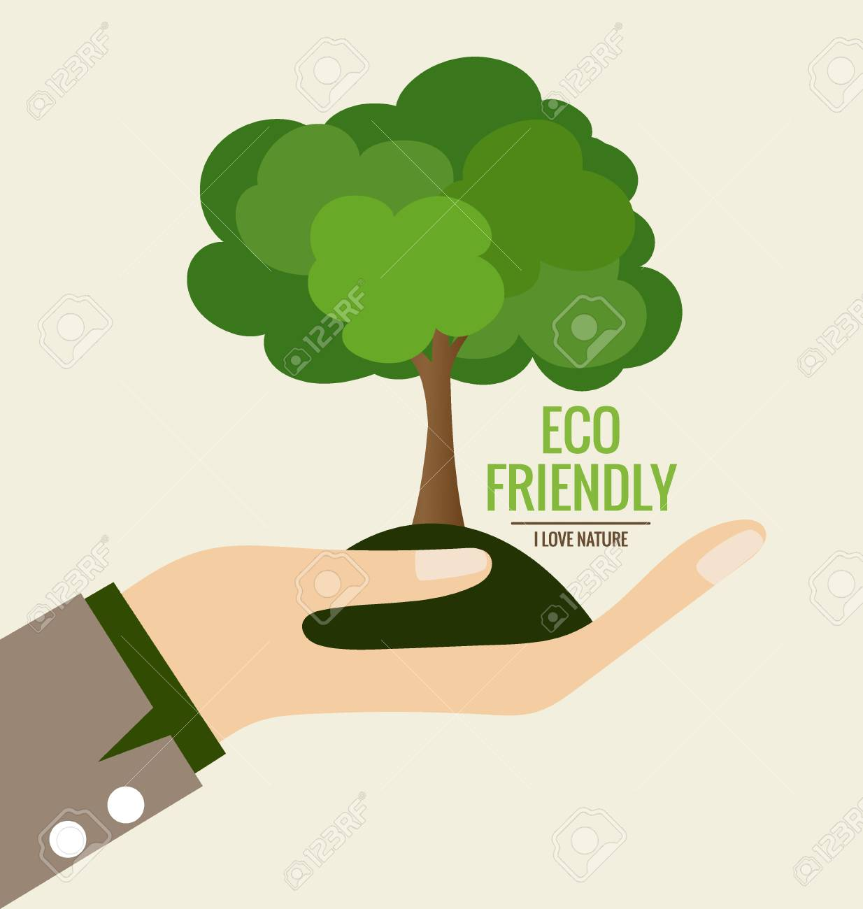 ECO FRIENDLY. Ecology concept with Hand and tree background. Vector illustration. - 41226129