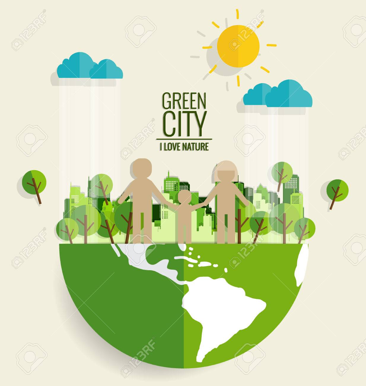 Ecology concept. Paper cut of family and tree on green background. Vector illustration. - 41947634