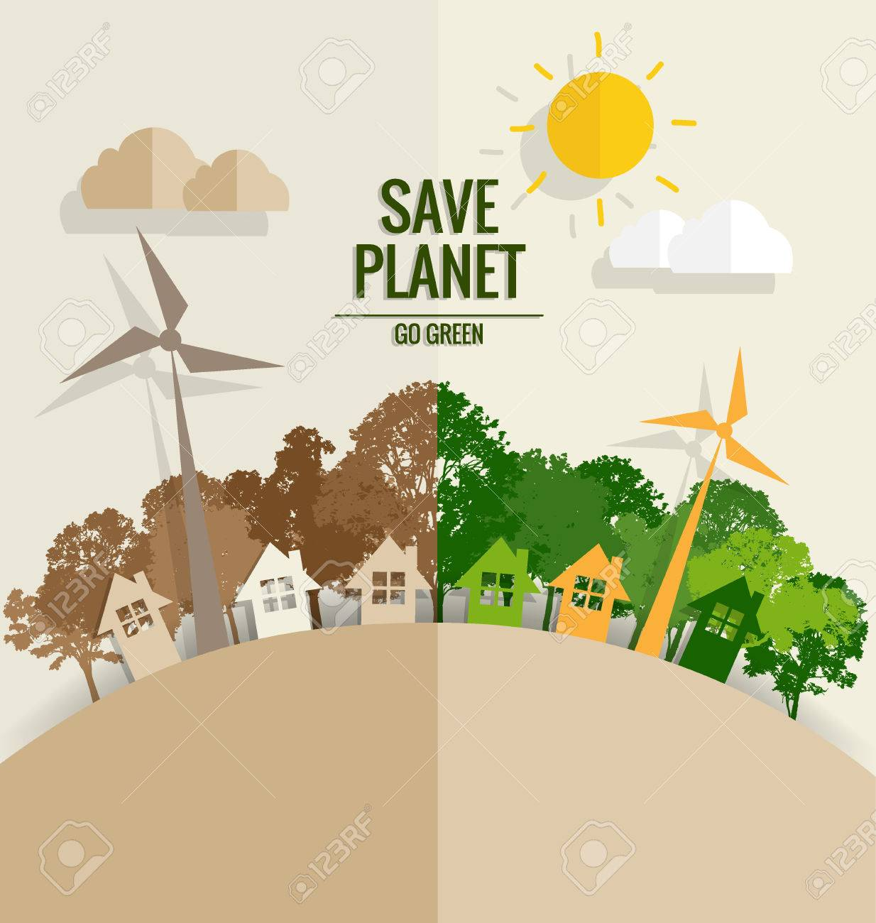 ECO FRIENDLY. Ecology concept with tree background. Vector illustration. - 42293143