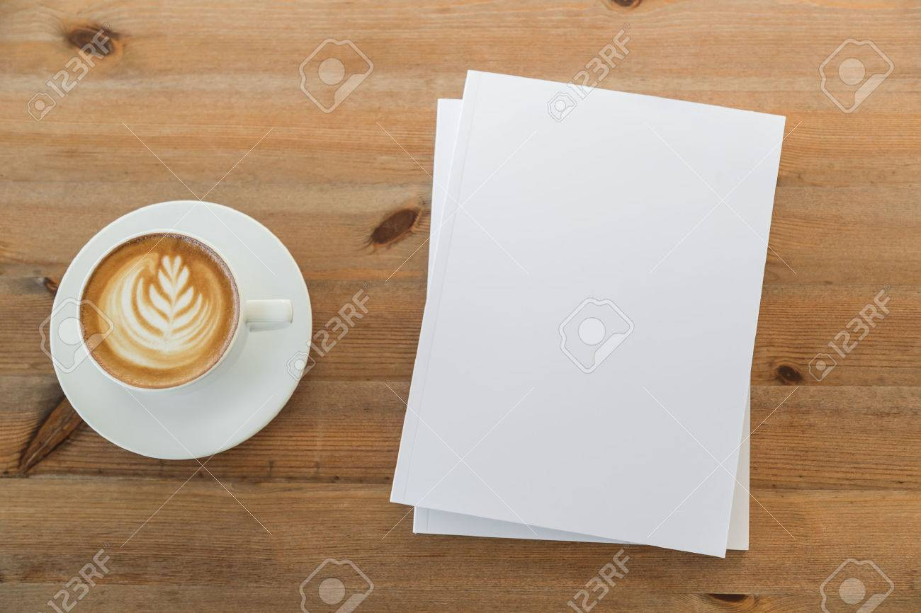 Blank catalog, magazines,book mock up on wood background with cup of coffee - 42457113