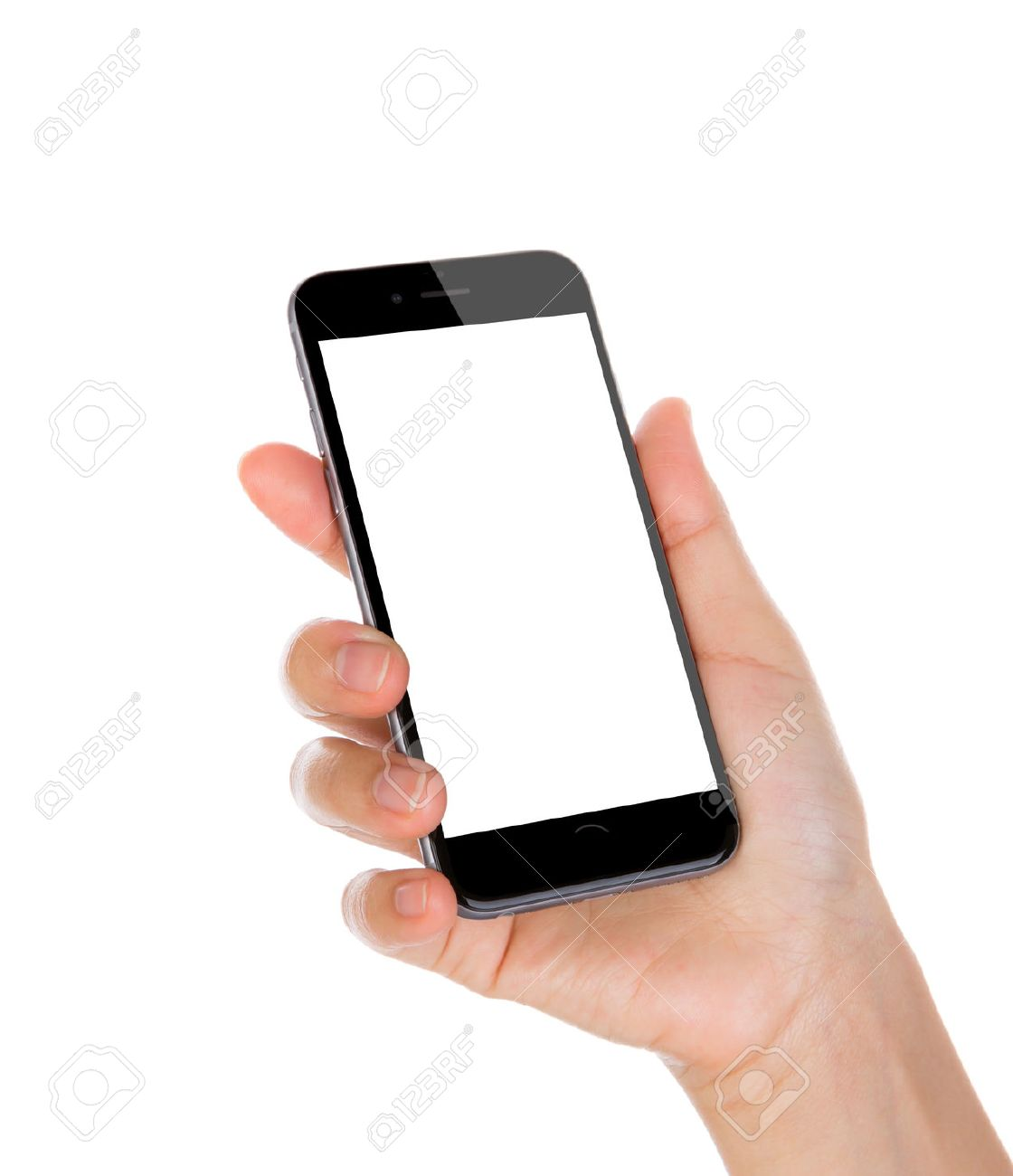 Hand holding mobile smart phone with blank screen Isolated on white background - 43313100
