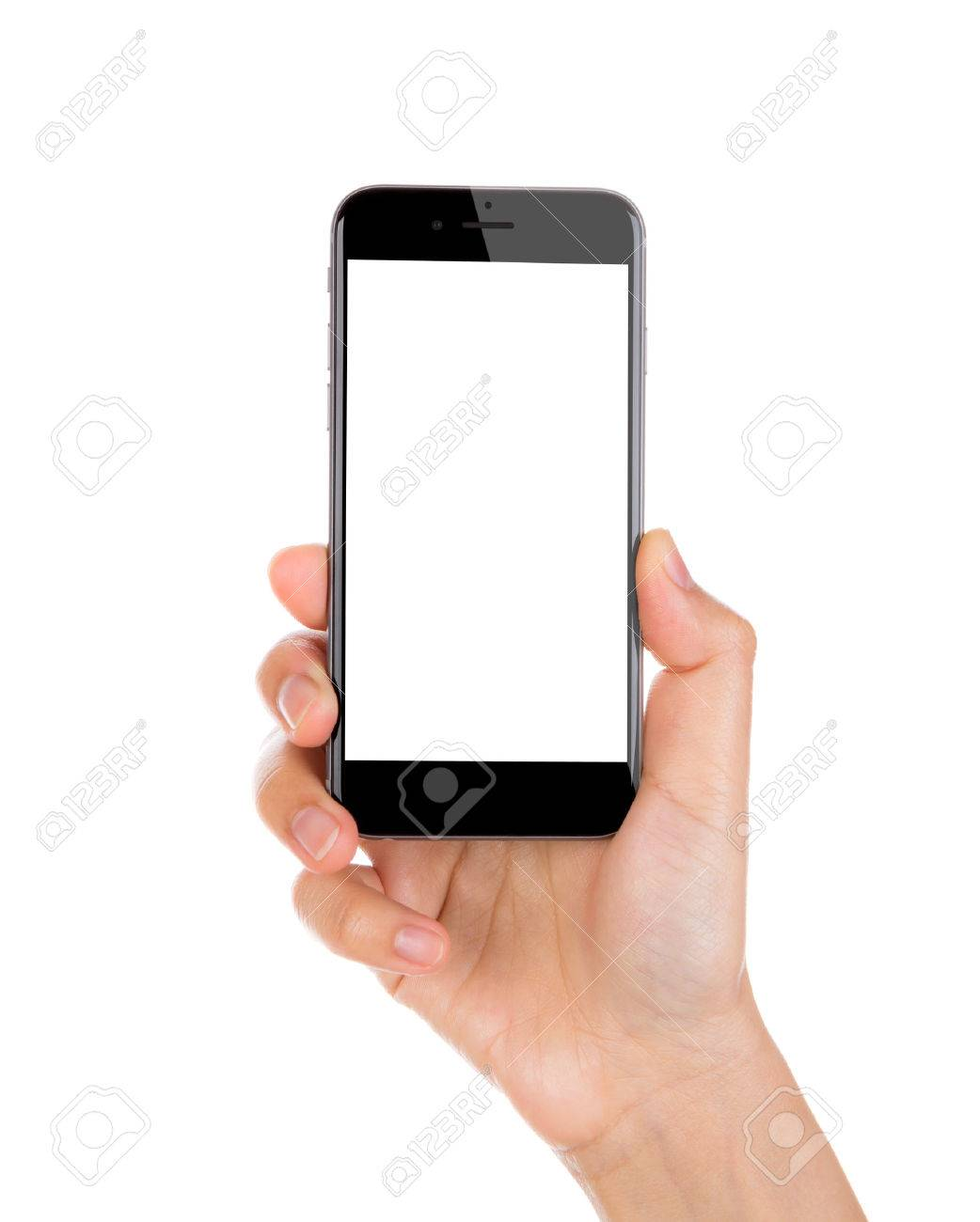 Hand holding mobile smart phone with blank screen Isolated on white background - 43313111