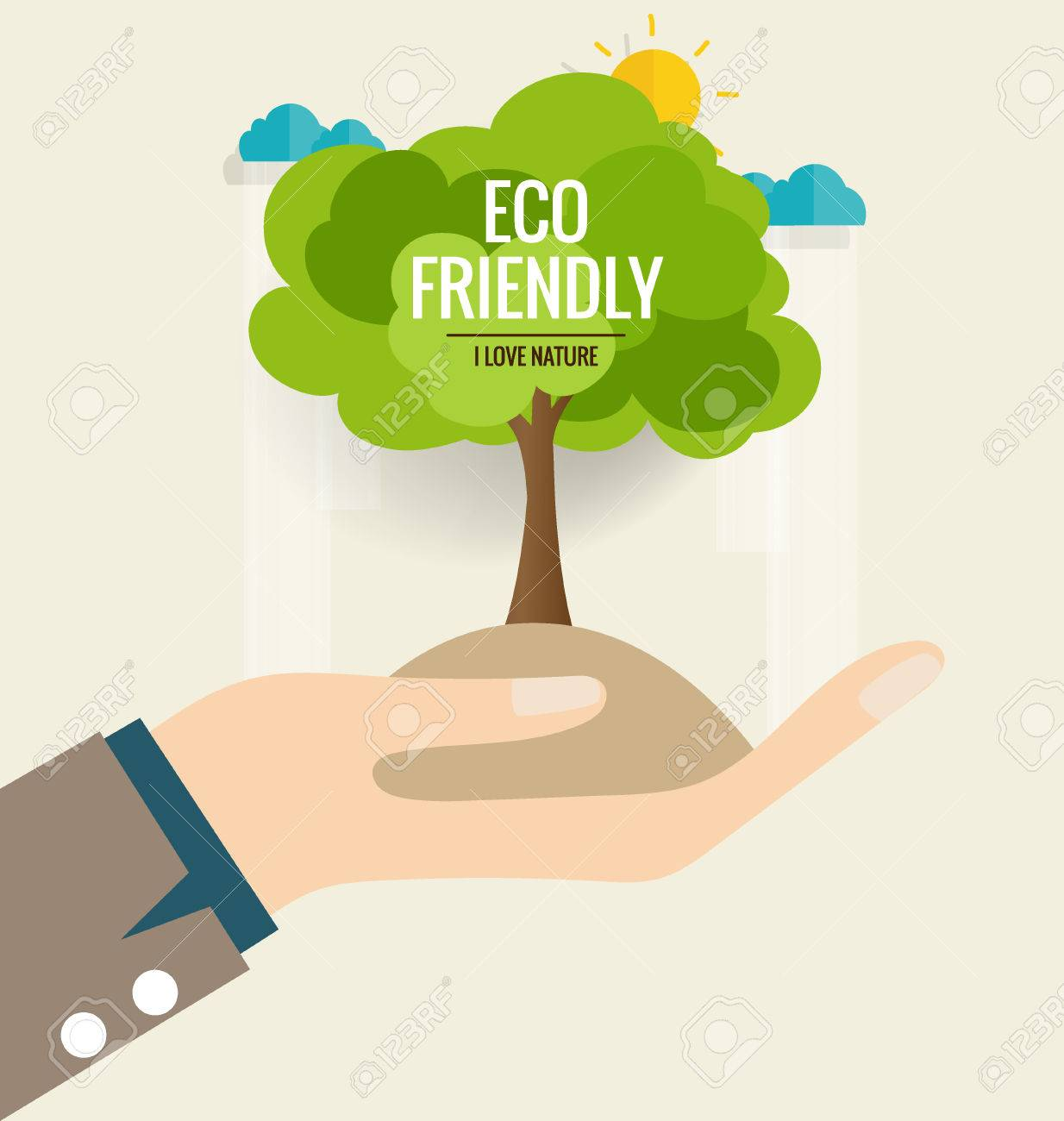 ECO FRIENDLY. Ecology concept with hand and tree background. Vector illustration. - 44305951