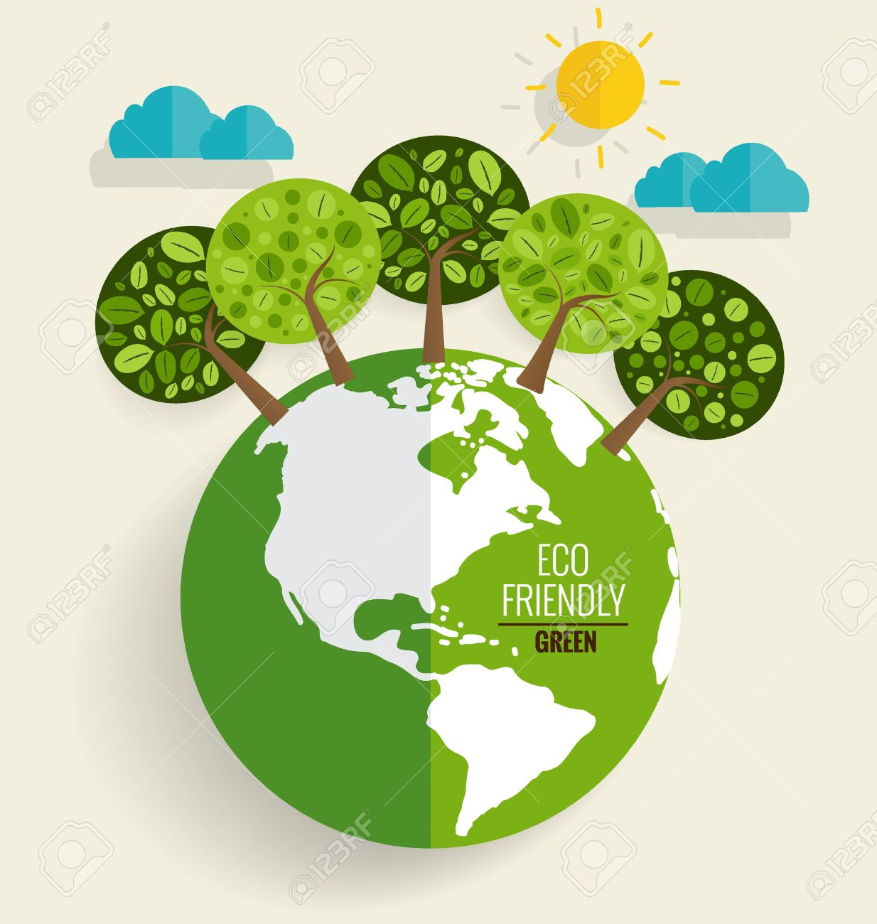 ECO FRIENDLY. Ecology concept with Green Eco Earth and Trees. Vector illustration. - 44305962