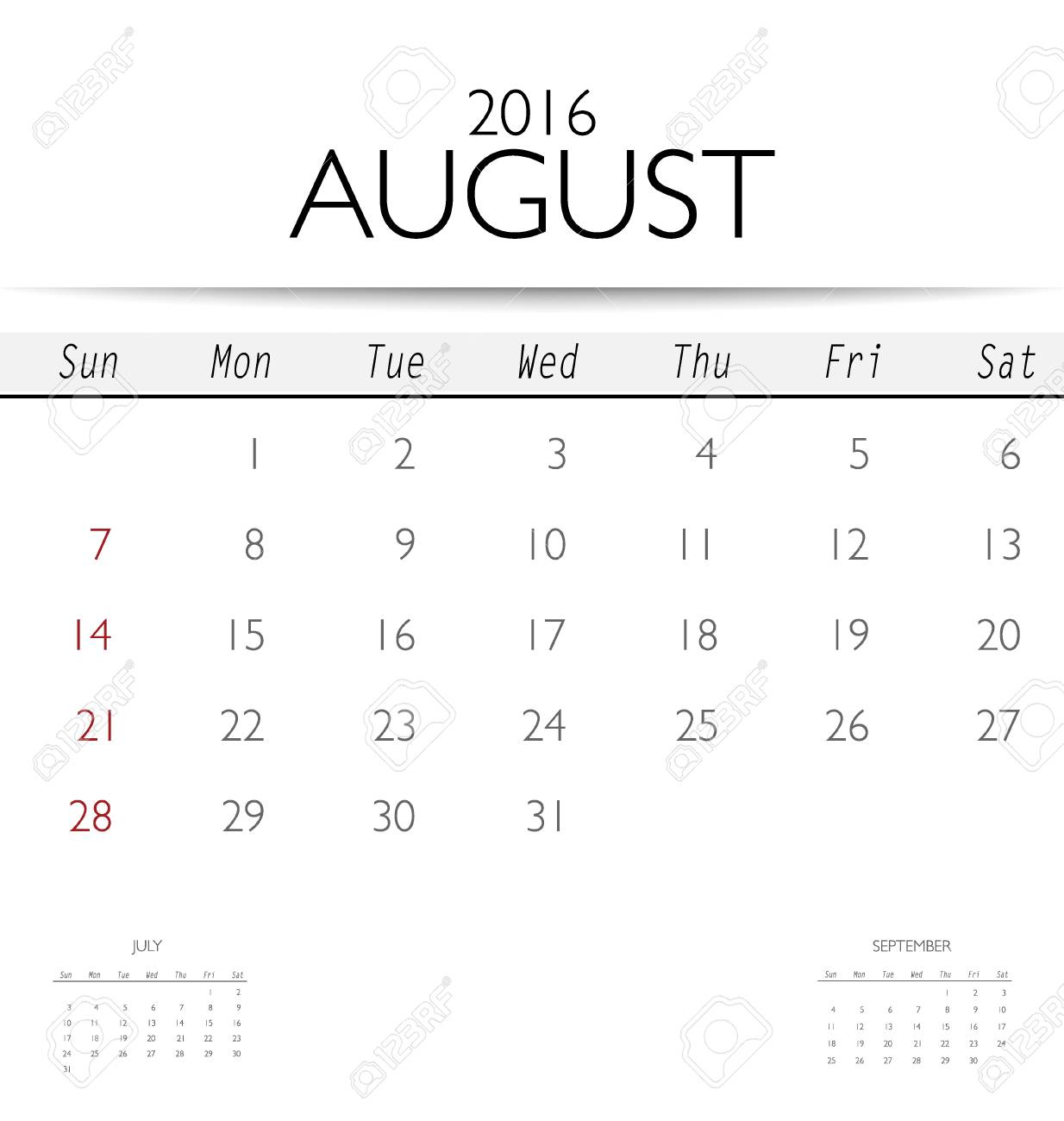 2016 calendar monthly calendar template for august vector