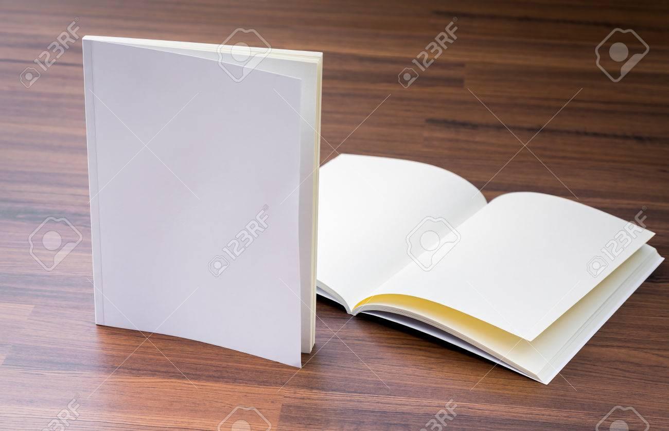 Blank catalog, magazines,book mock up on wood background - 44350471