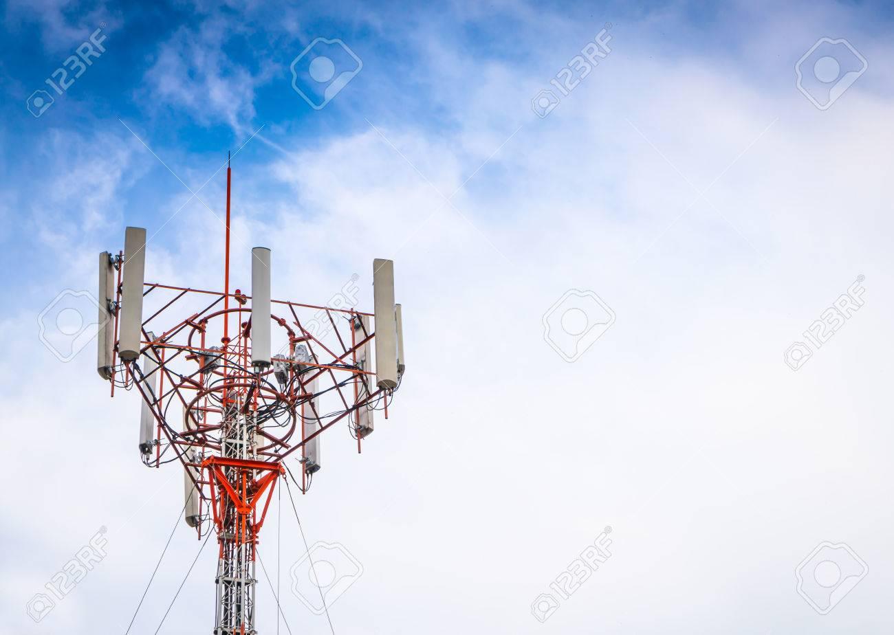 Telecommunication tower with beautiful sky - 44861988