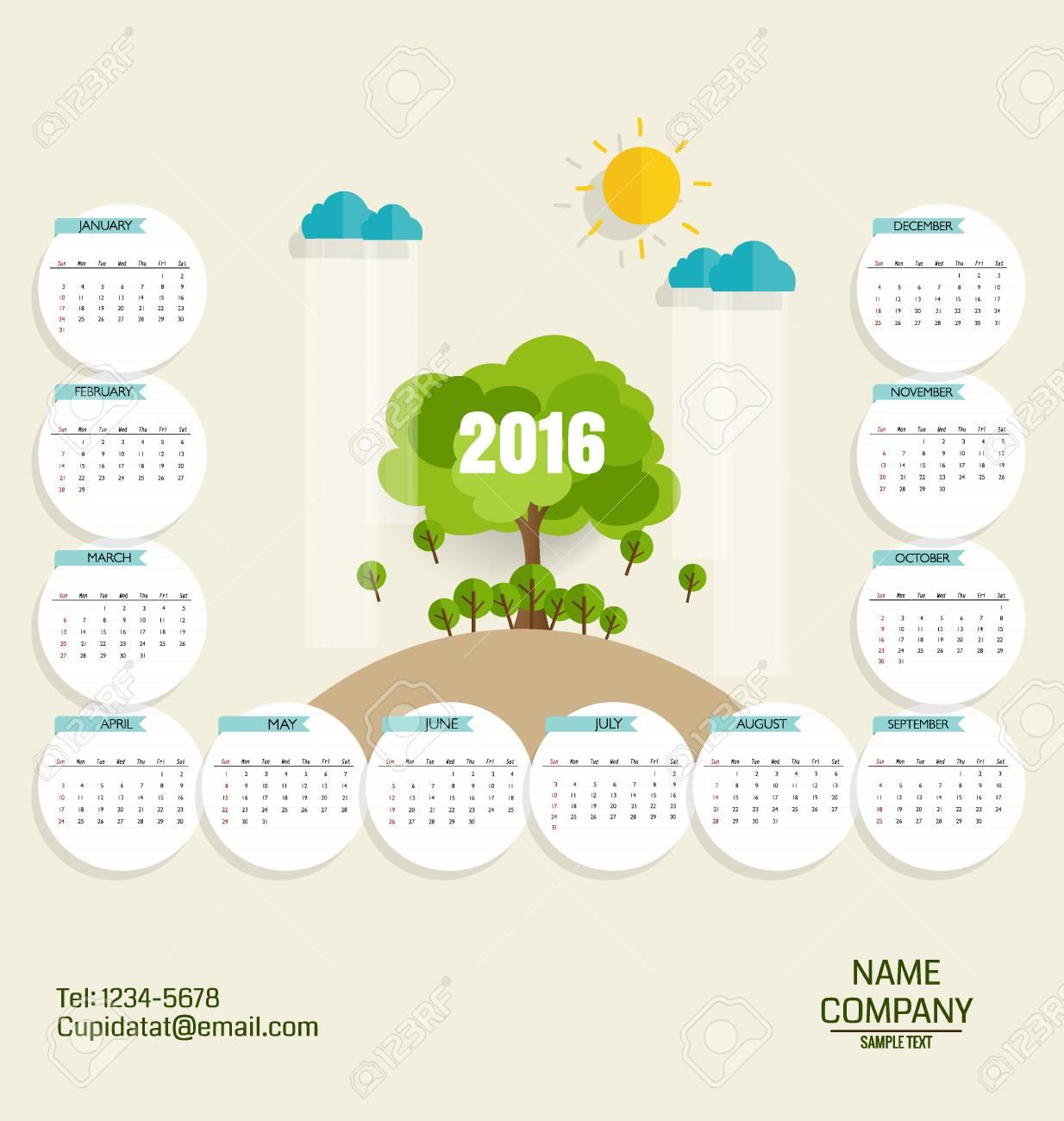 Calendrier 2016 Modle De Carte Visite Moderne Avec Fond