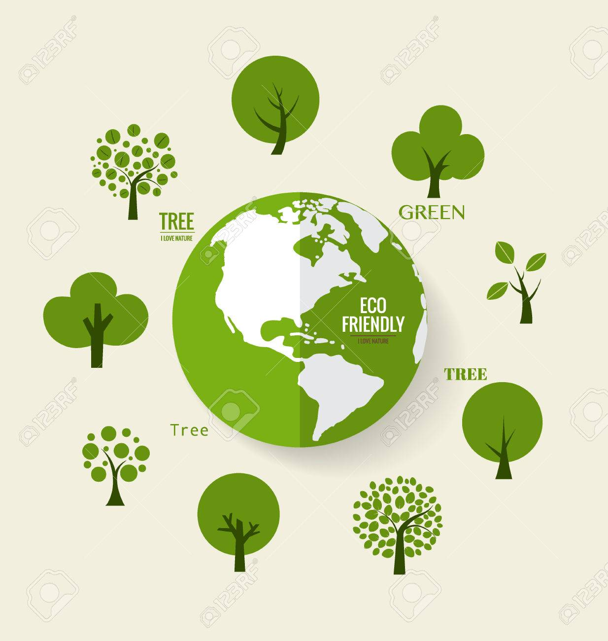 ECO FRIENDLY. Ecology concept with Green Eco Earth and Trees. Vector illustration. - 45980399