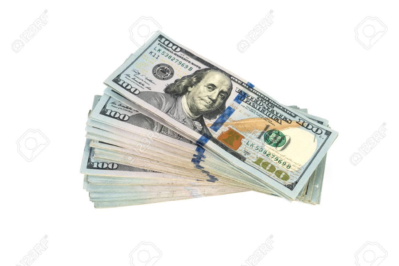 One hundred dollars banknotes on white background - 48016247