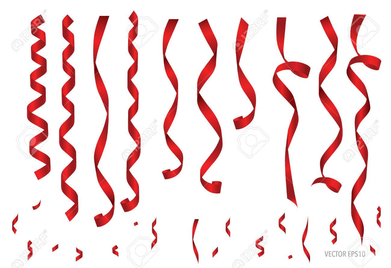Shiny red ribbon on white background with copy space. Vector illustration. - 48187683