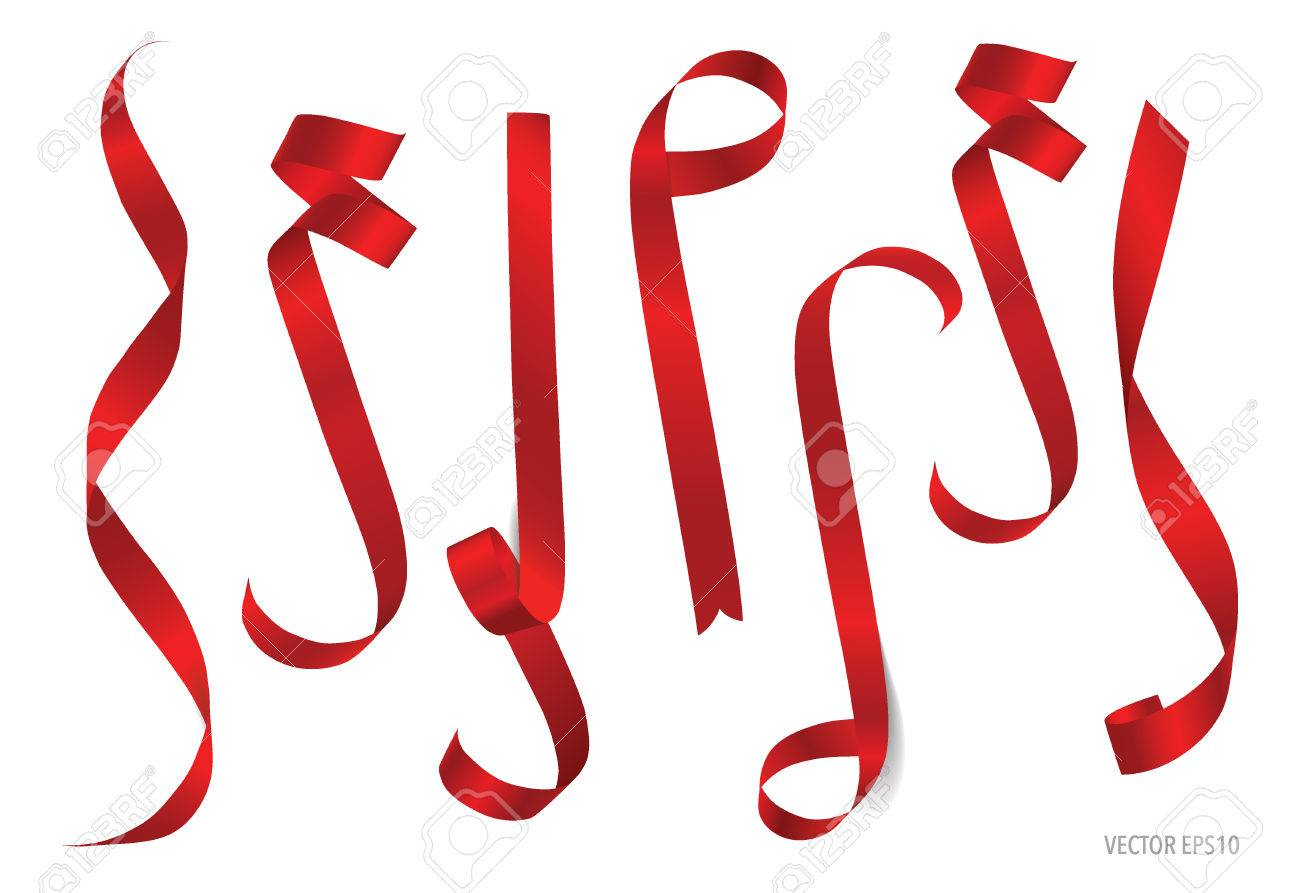 Shiny red ribbon on white background with copy space. Vector illustration. - 48188117