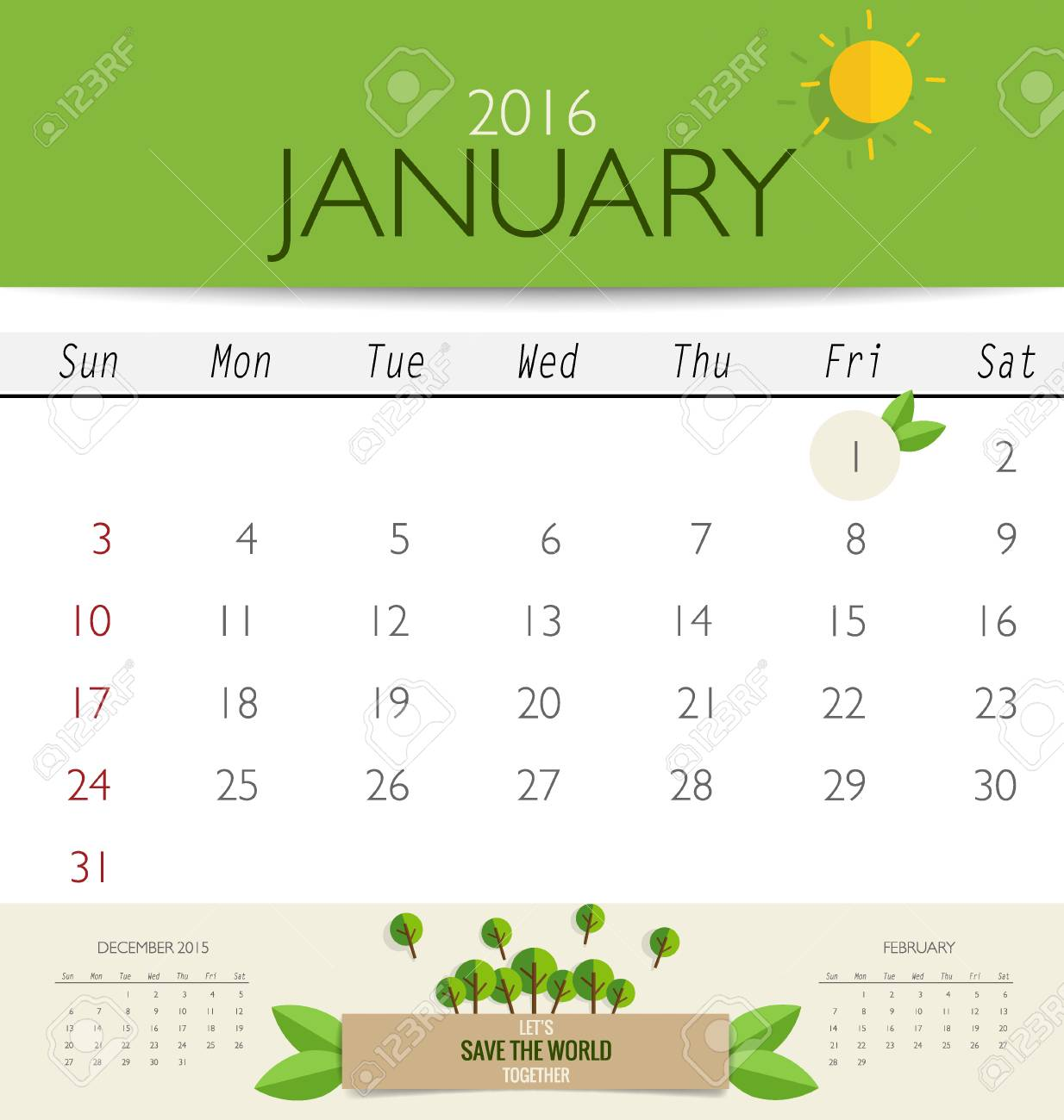 Kalender 2016, Monatskalender Vorlage Für Januar. Vektor ...