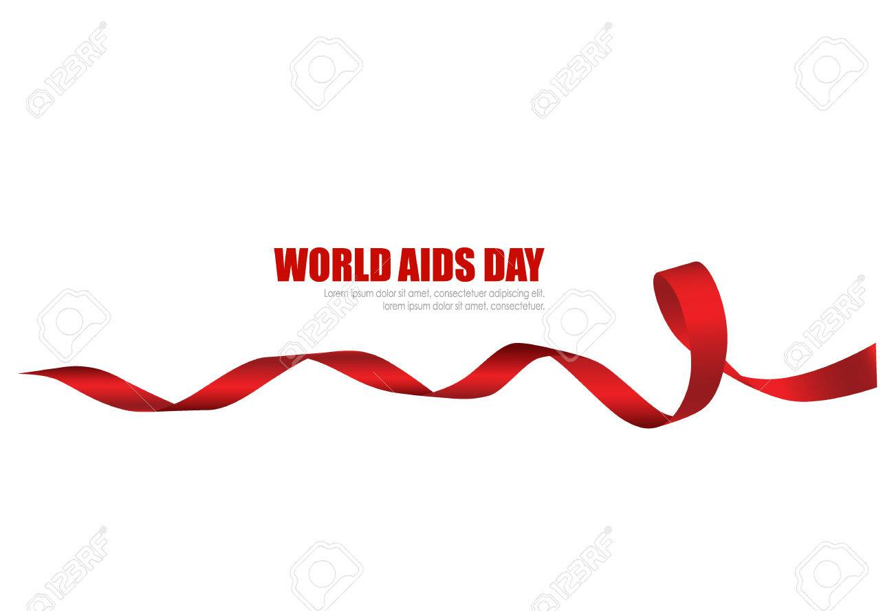 Aids Awareness Red heart Ribbon on white background. Vector illustration. - 48188472
