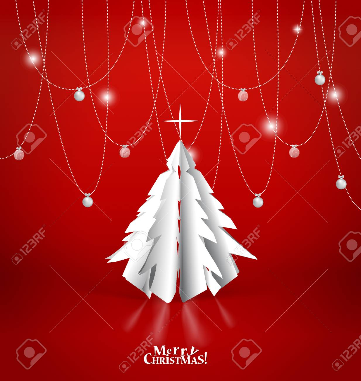 Merry Christmas greeting card with origami Christmas tree, vector illustration. - 49322054