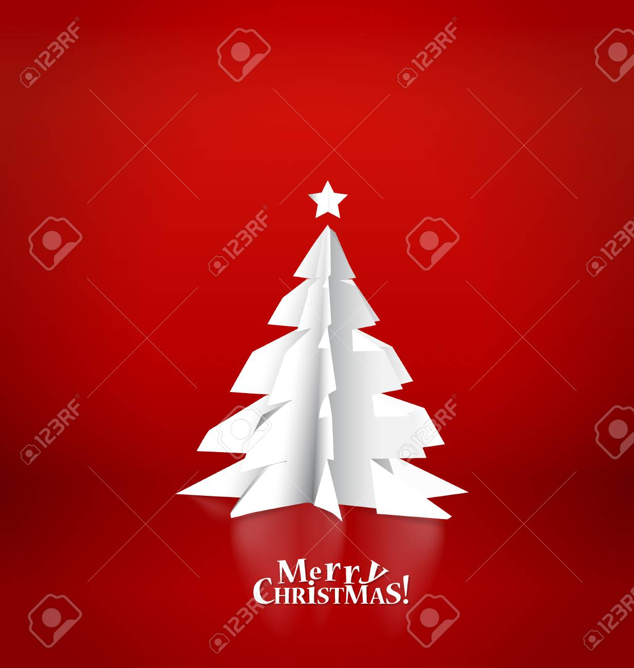 Merry Christmas Greeting Card With Origami Christmas Tree Vector