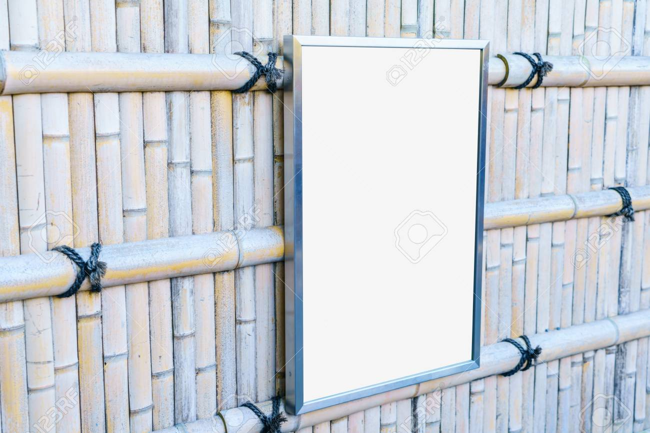 Empty Frame On Bamboo Wood Fence Stock Photo, Picture And Royalty ...