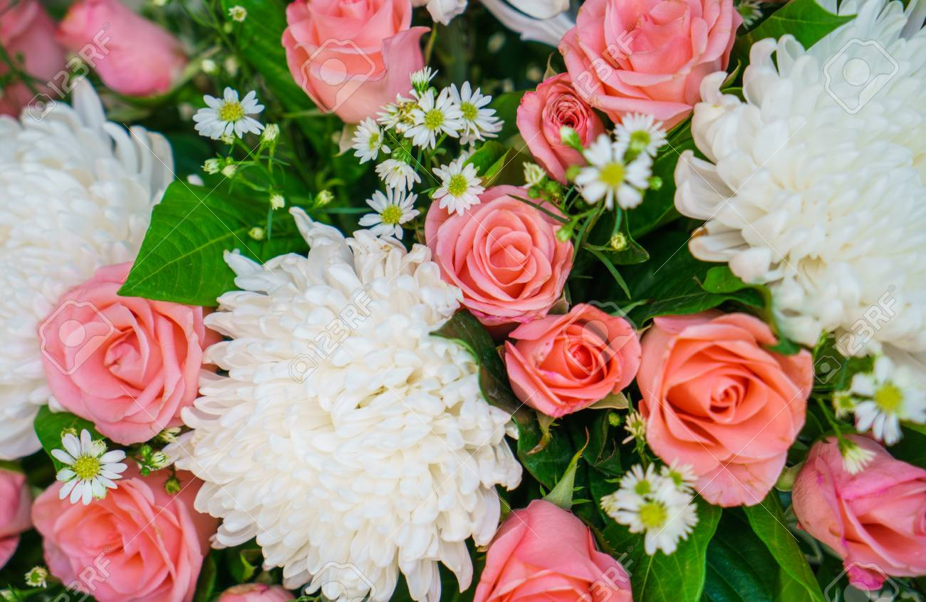 Beautiful Flowers For Valentines And Wedding Scene Stock Photo