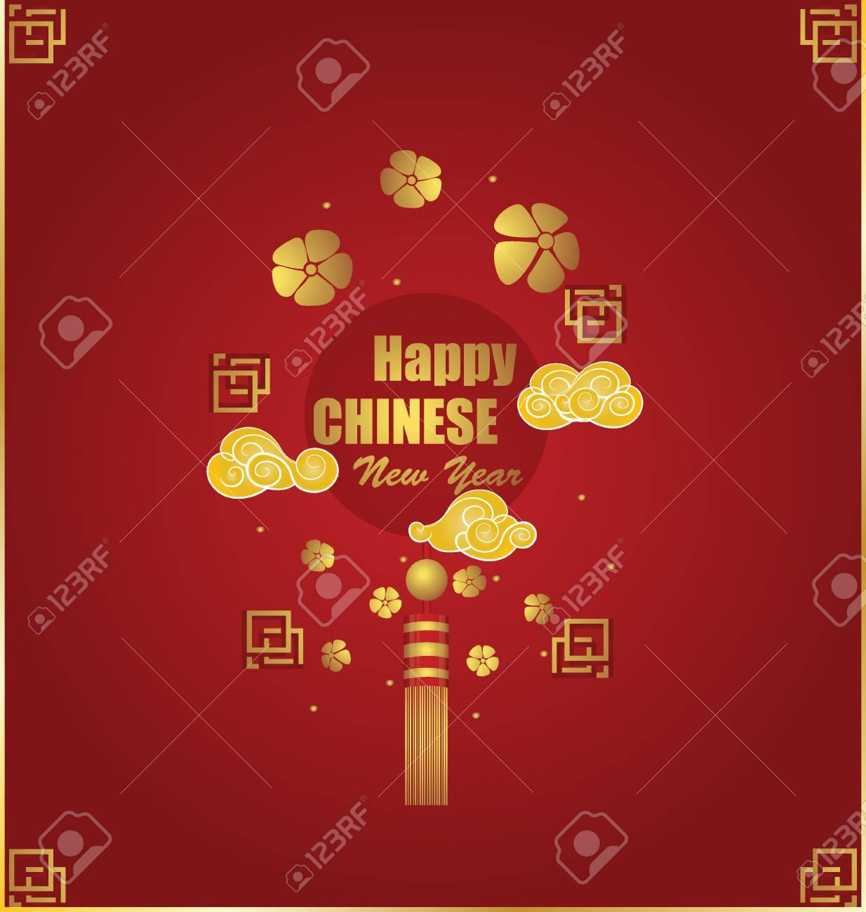 chinese new year background with chinese new year decorative elements vector illustration stock vector