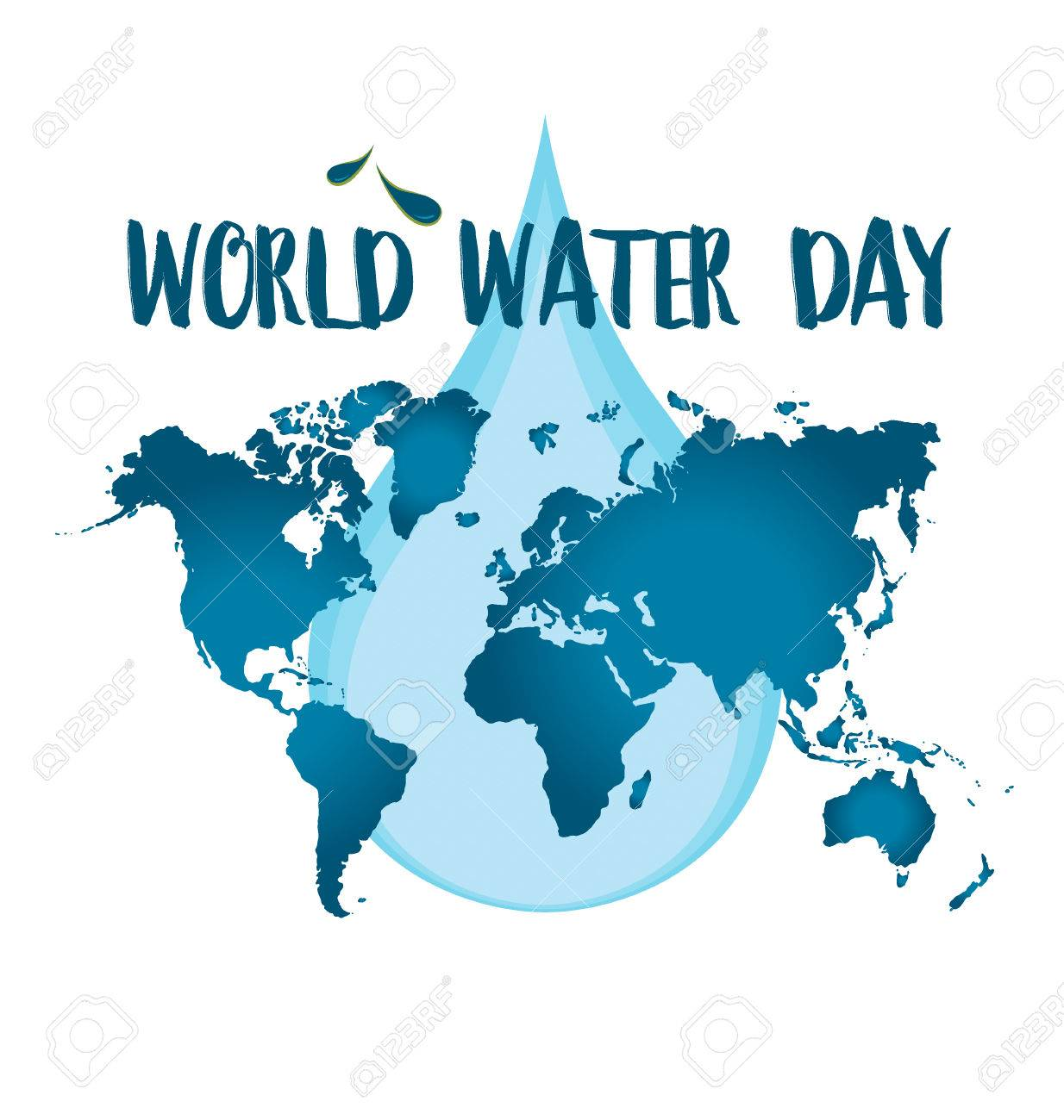 World water day concept with water drop made by globe. Vector illustration. - 53127435