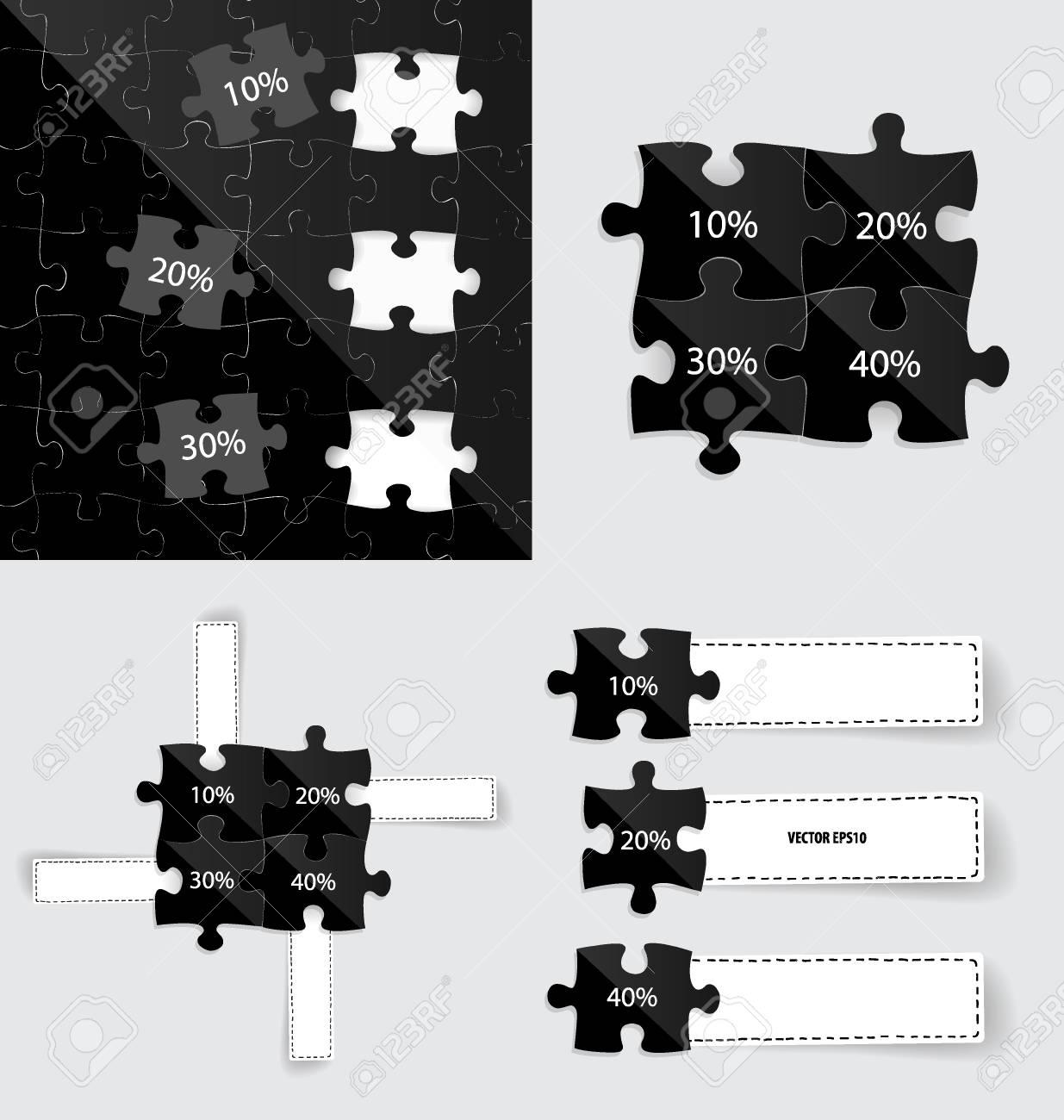 Estilo De Plantilla De Infografía Moderna. Piezas De Rompecabezas De ...