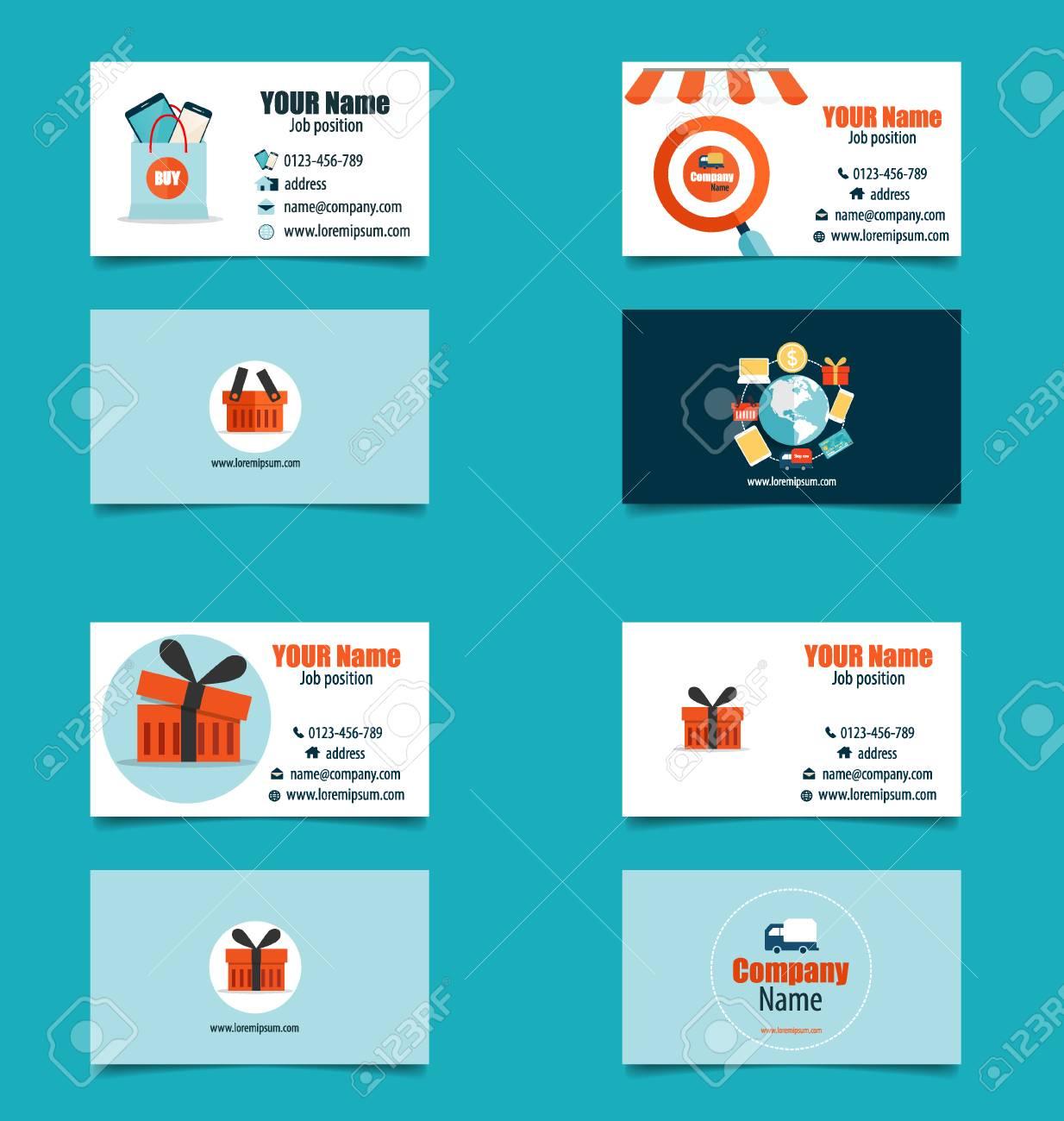 Modle De Carte Visite Moderne Avec Business Concept Achats En