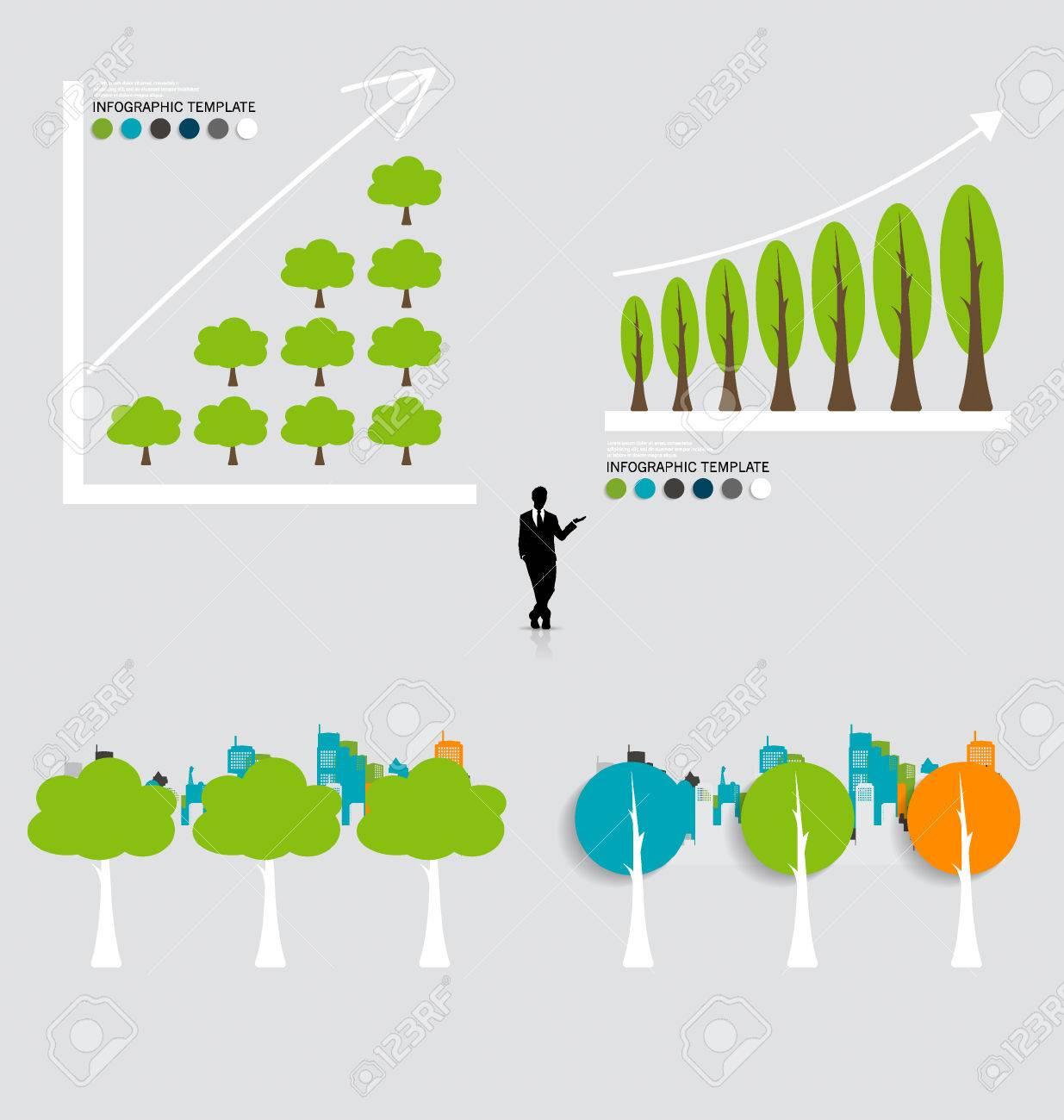 Concepto De Economía Verde: Gráfica De Crecimiento Sostenible Con El ...