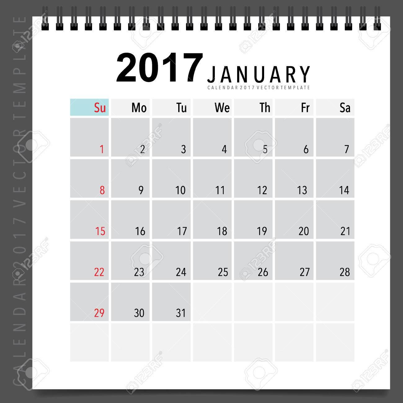 2017 Kalender Planer Design, Monatskalender Vorlage Für Januar ...