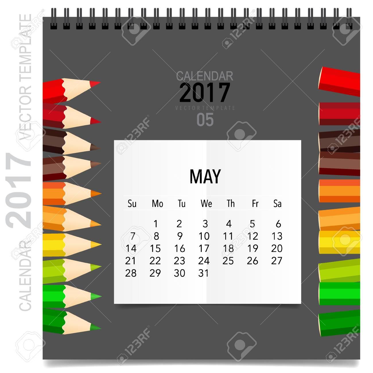 2017 Calendar Planner Design, Monthly Calendar Template For May ...