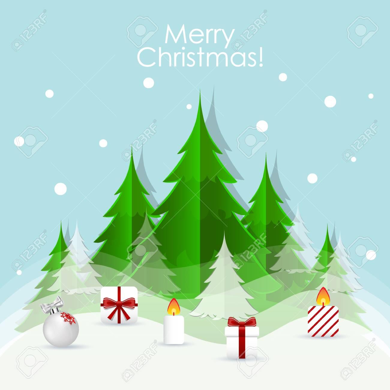 Immagini Natalizie Vettoriali.Biglietto Di Auguri Di Natale Con Albero Di Natale E Decorazioni Natalizie Illustrazione Vettoriale