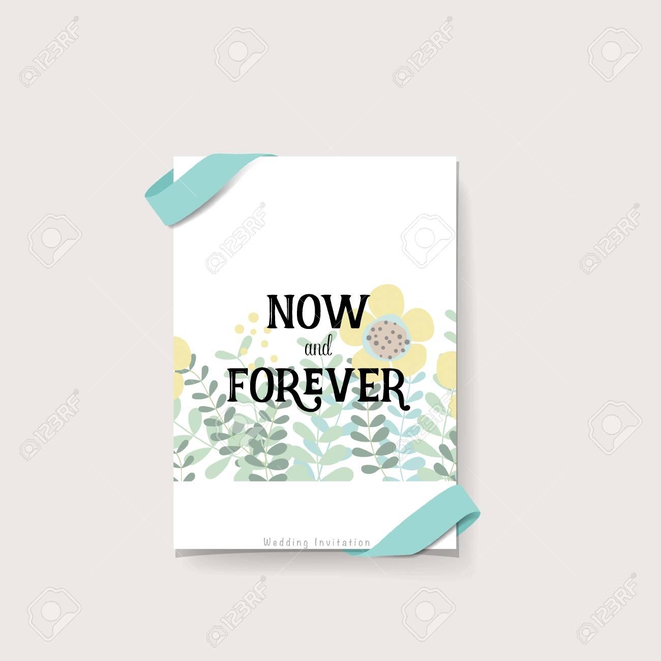 Conception De Carte D Invitation De Mariage Avec De Jolis Modeles De Fleurs Illustration Vectorielle