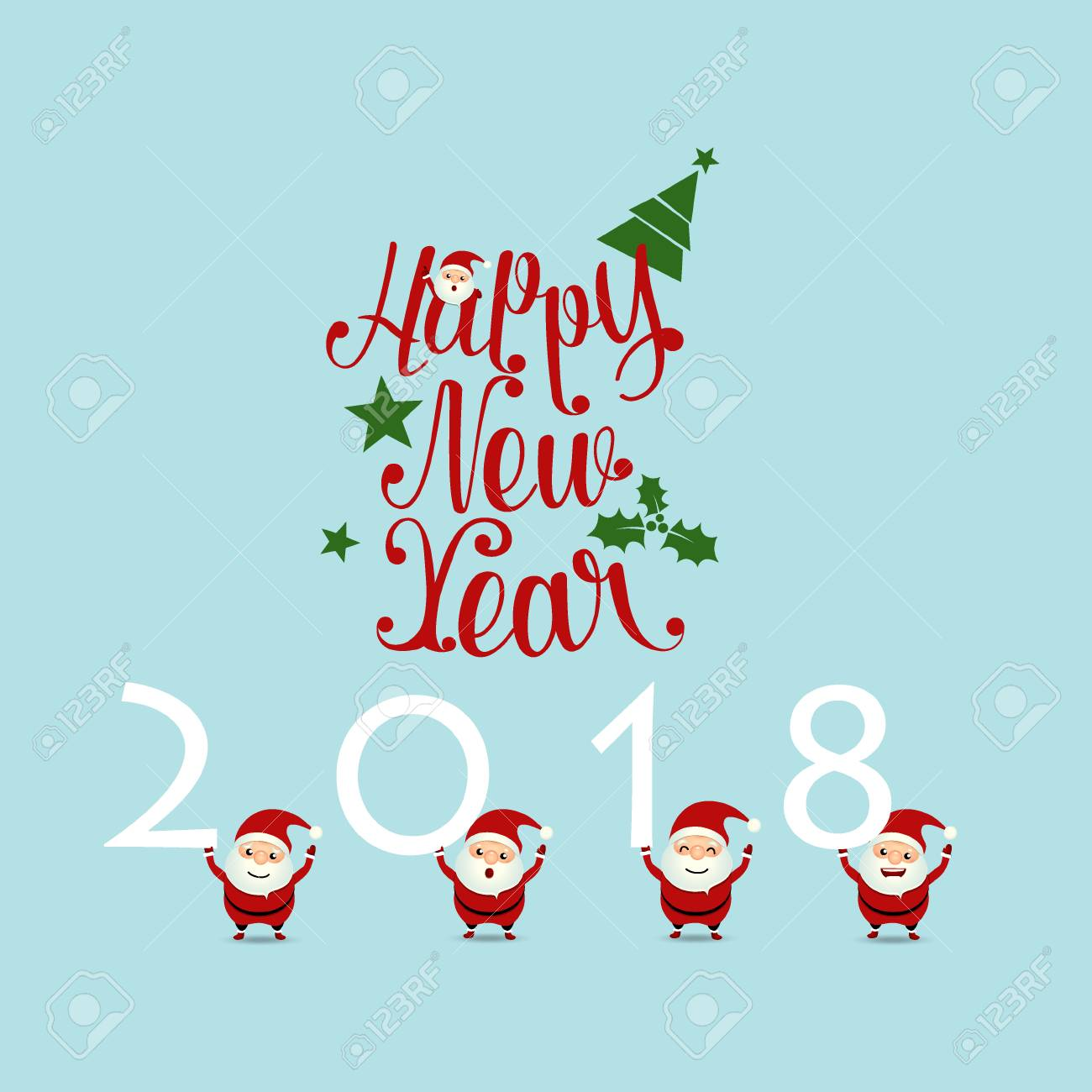 merry christmas and happy new year 2018 greeting card with santa claus vector illustration