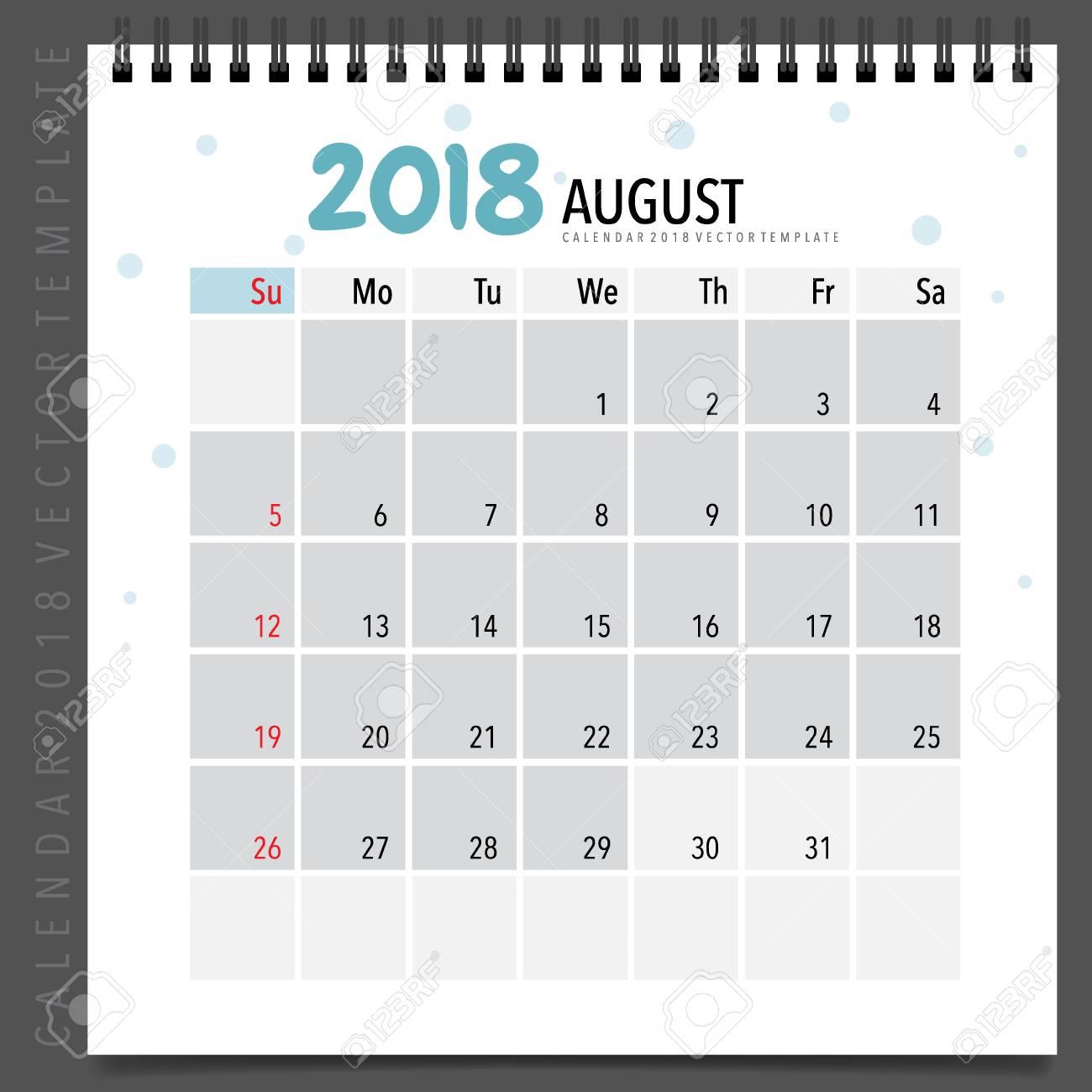 2018 Calendario Planificador Diseño Vectorial, Plantilla De ...