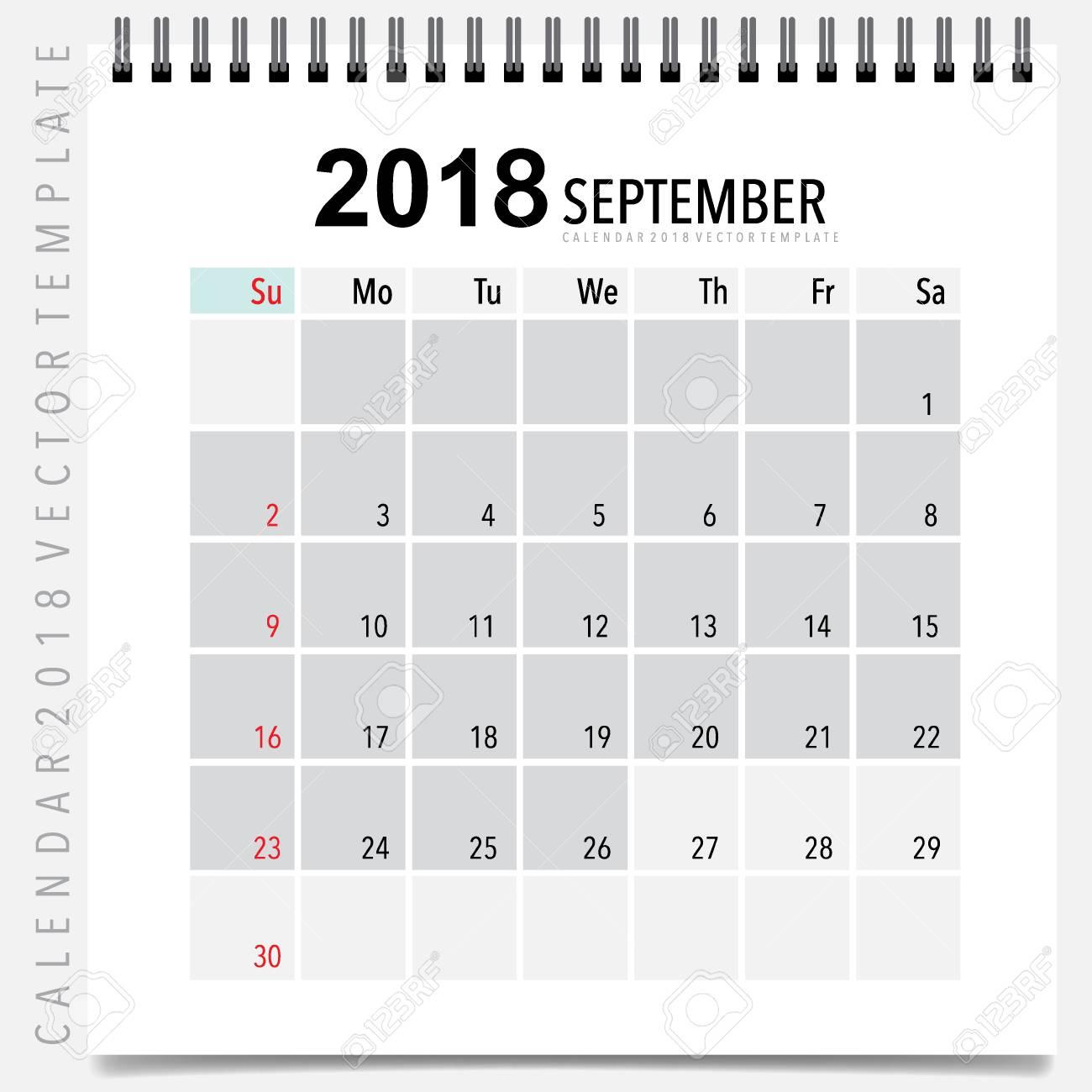 2018 Calendar Planner Vector Design, Monthly Calendar Template ...