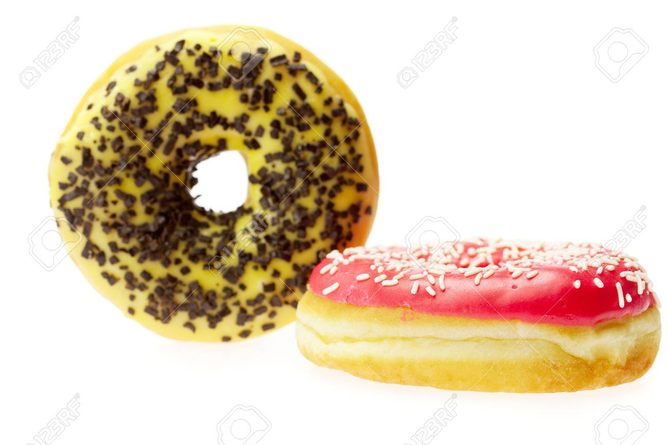 Donut with chocolate and colorful sprinkles, isolated on white Stock Photo - 6730215