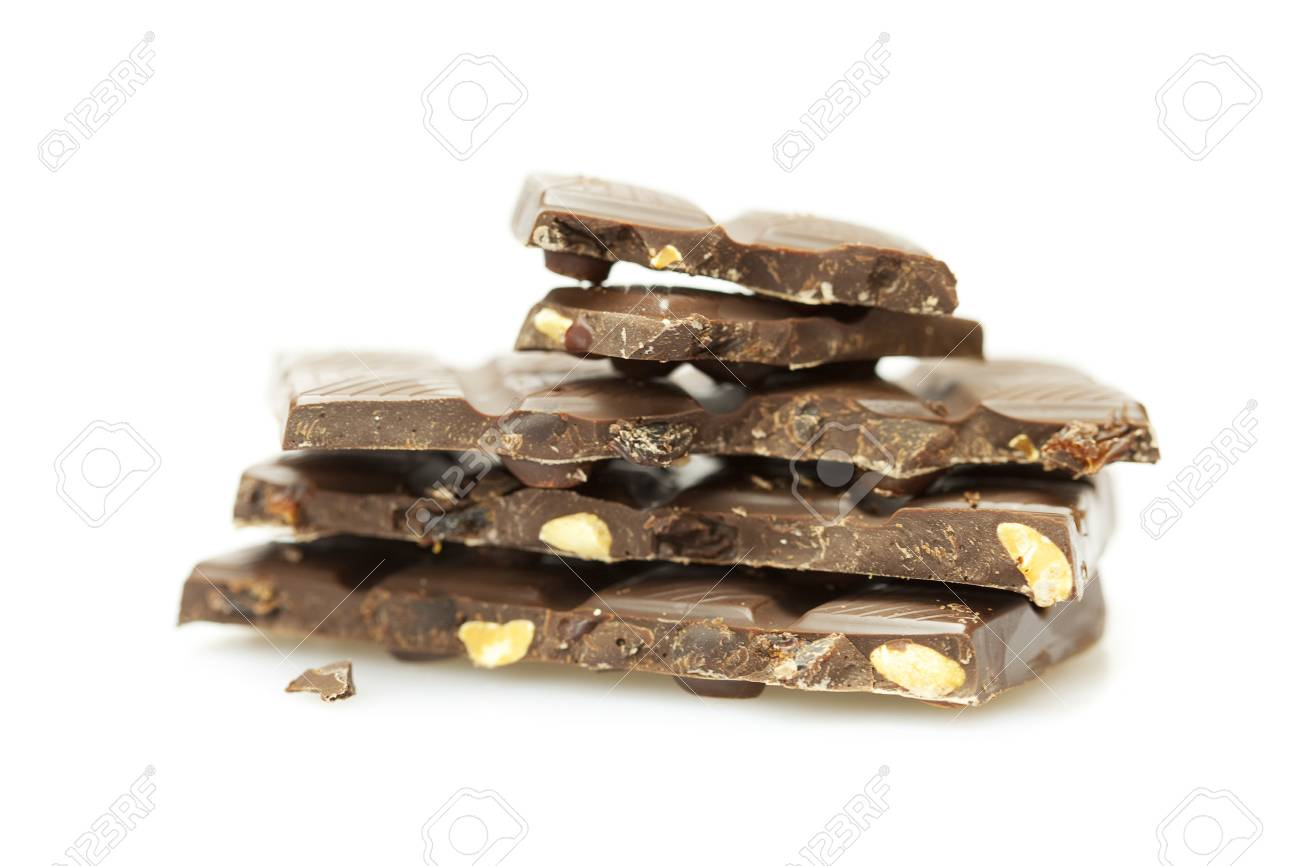 Mount a piece of chocolate isolated on white Stock Photo - 6962912