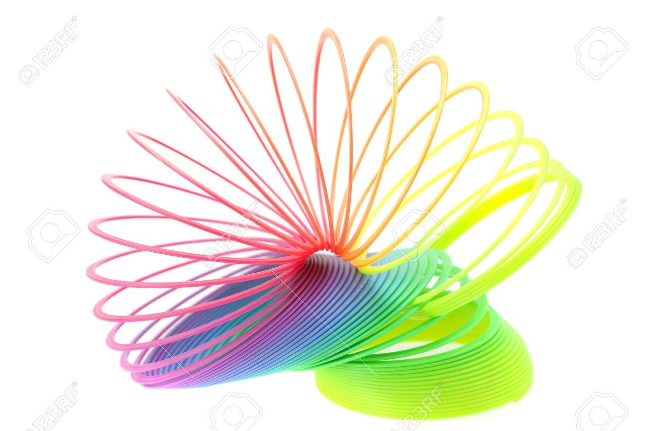 Colorful toy spring isolated on white Stock Photo - 7898291