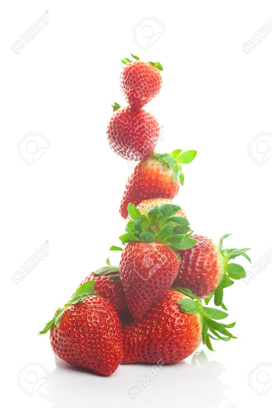 Mountain big juicy strawberries isolated on white - 9185593