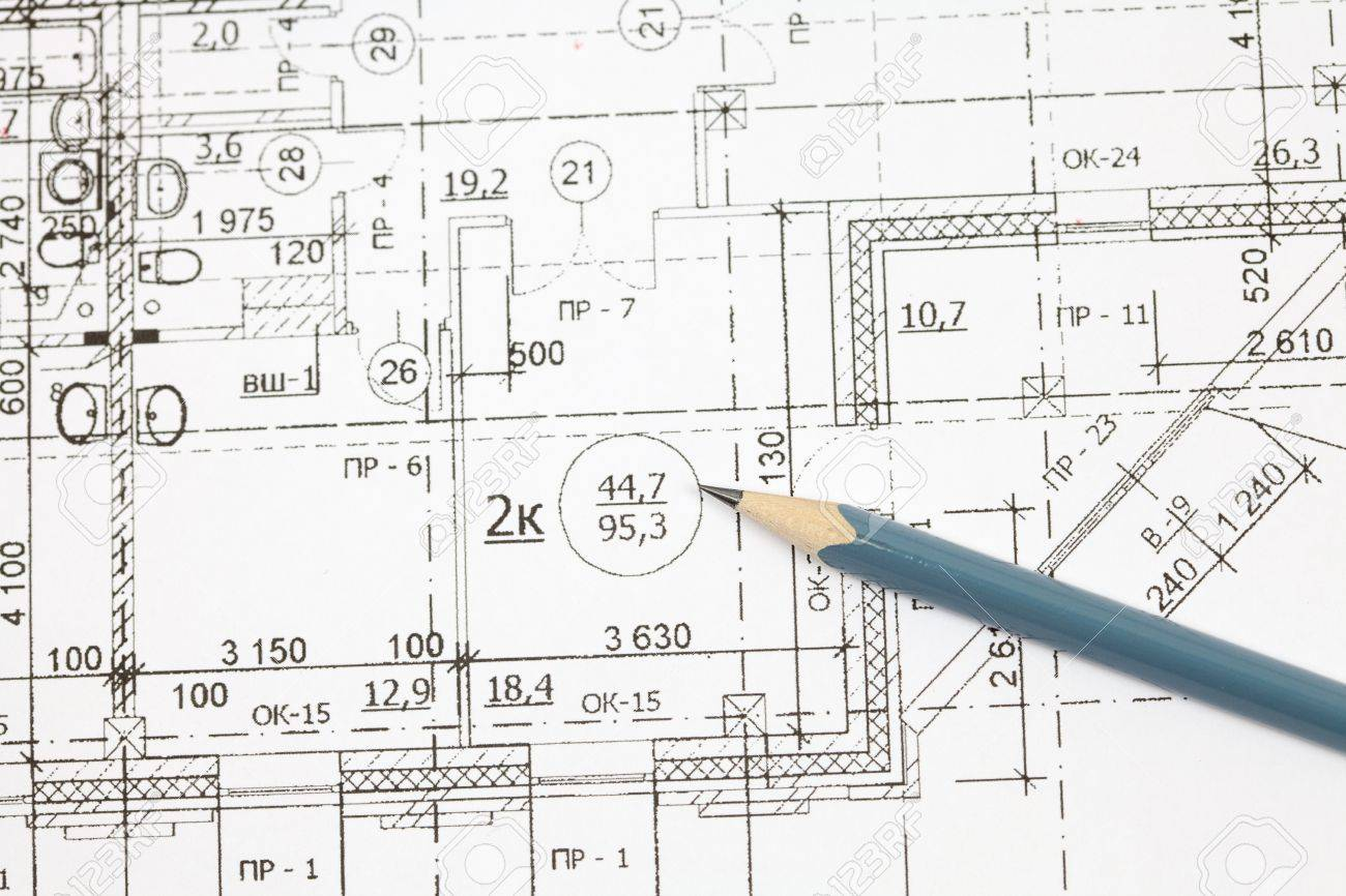 Background Of The Architectural Drawings And Pencil Stock Photo
