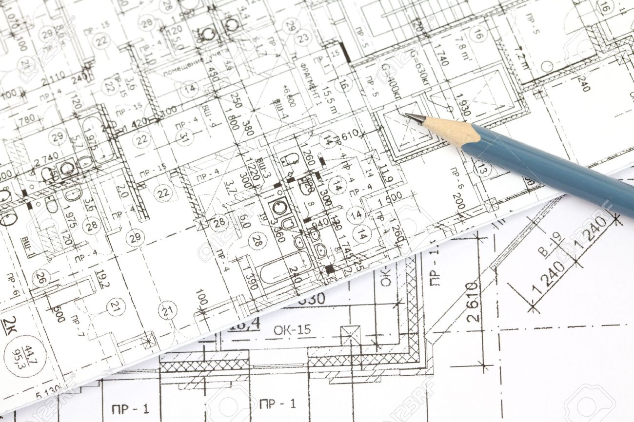 background of the architectural drawings and pencil - 9304347