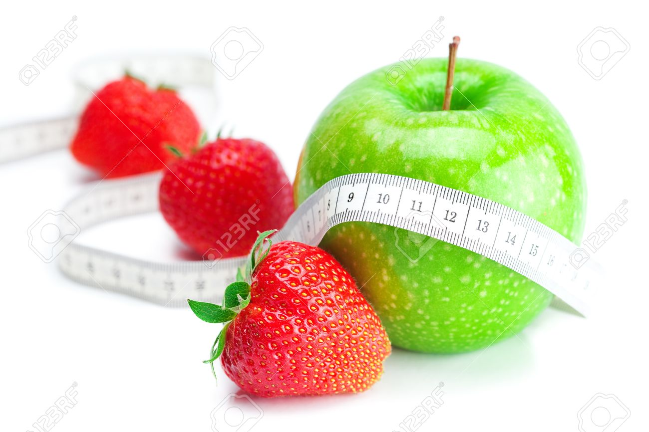 big juicy red ripe strawberries,measure tape and apple isolated on white - 9665510
