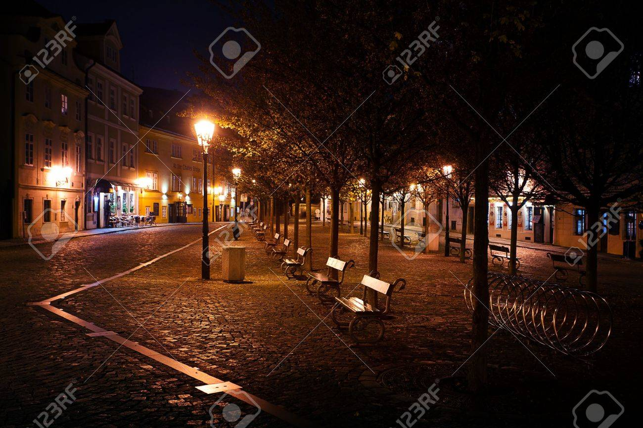beautiful night view of the street in Prague - 12100951