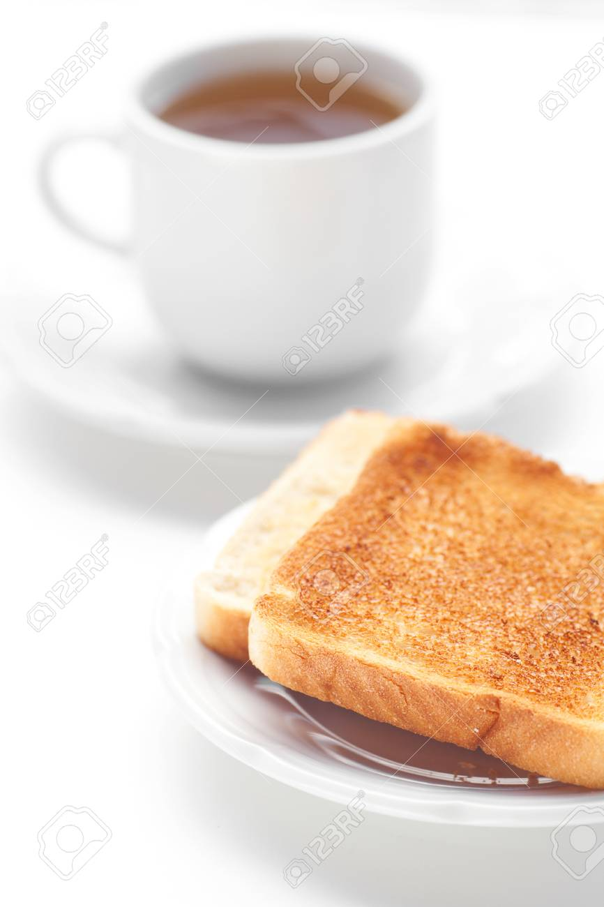 tea and toast isolated on white Stock Photo - 13646441